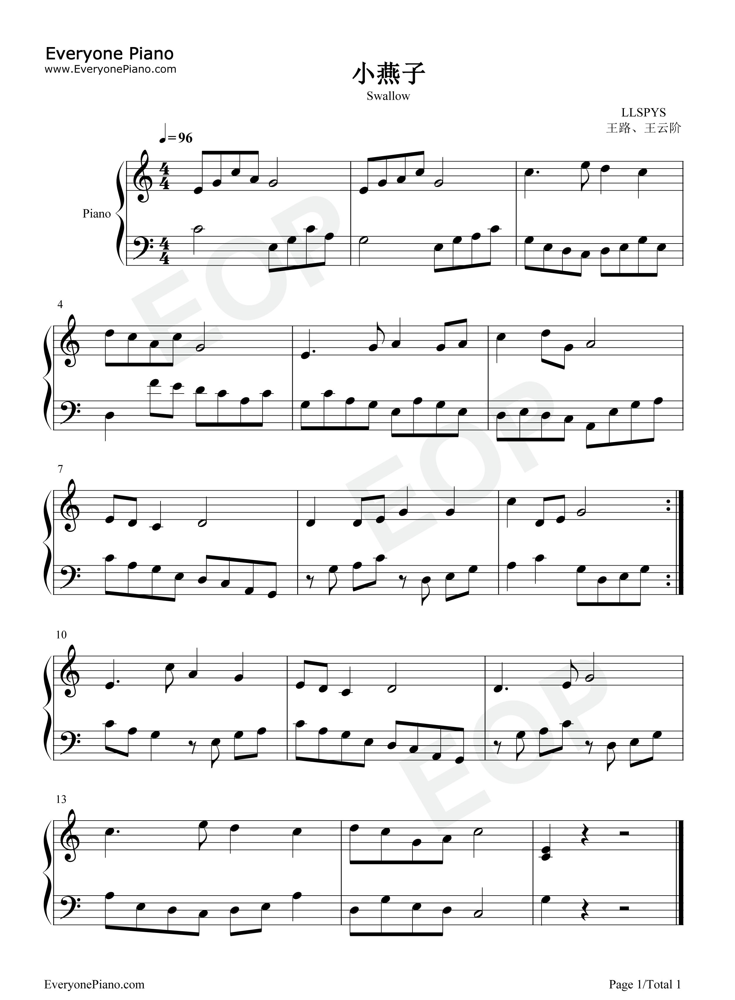 钢琴曲谱 儿歌 小燕子 小燕子五线谱预览1  }  仅供学习交流使用!
