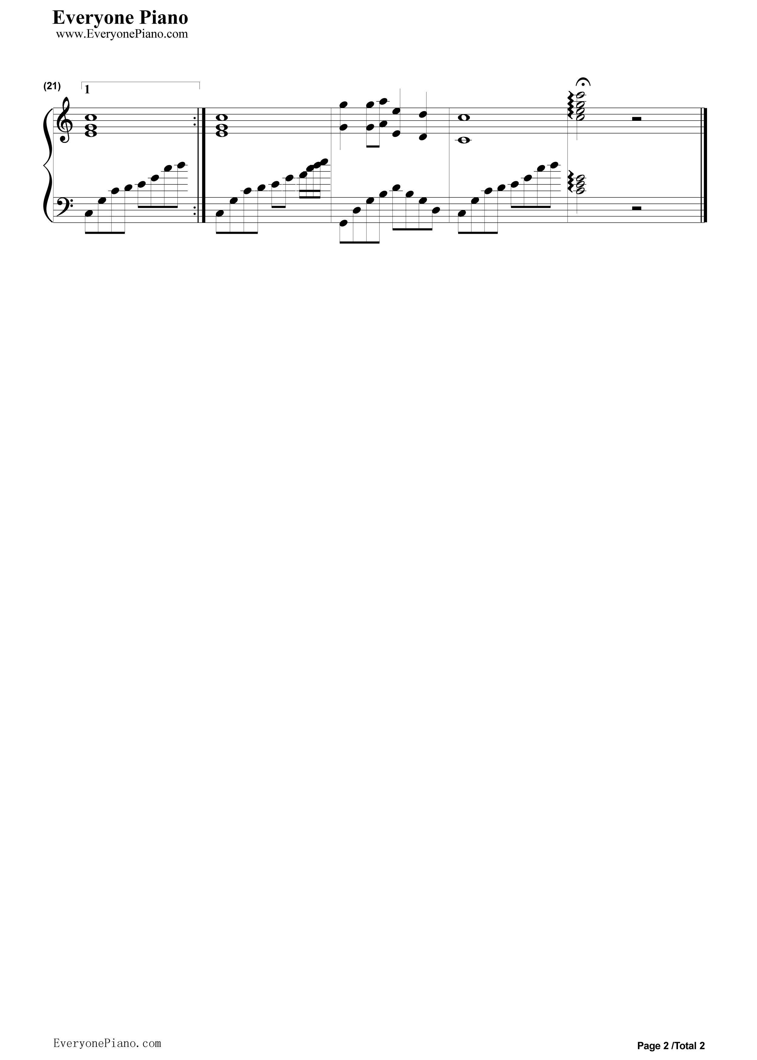 小城故事五线谱预览2-钢琴谱(五线谱,双手简谱)免费