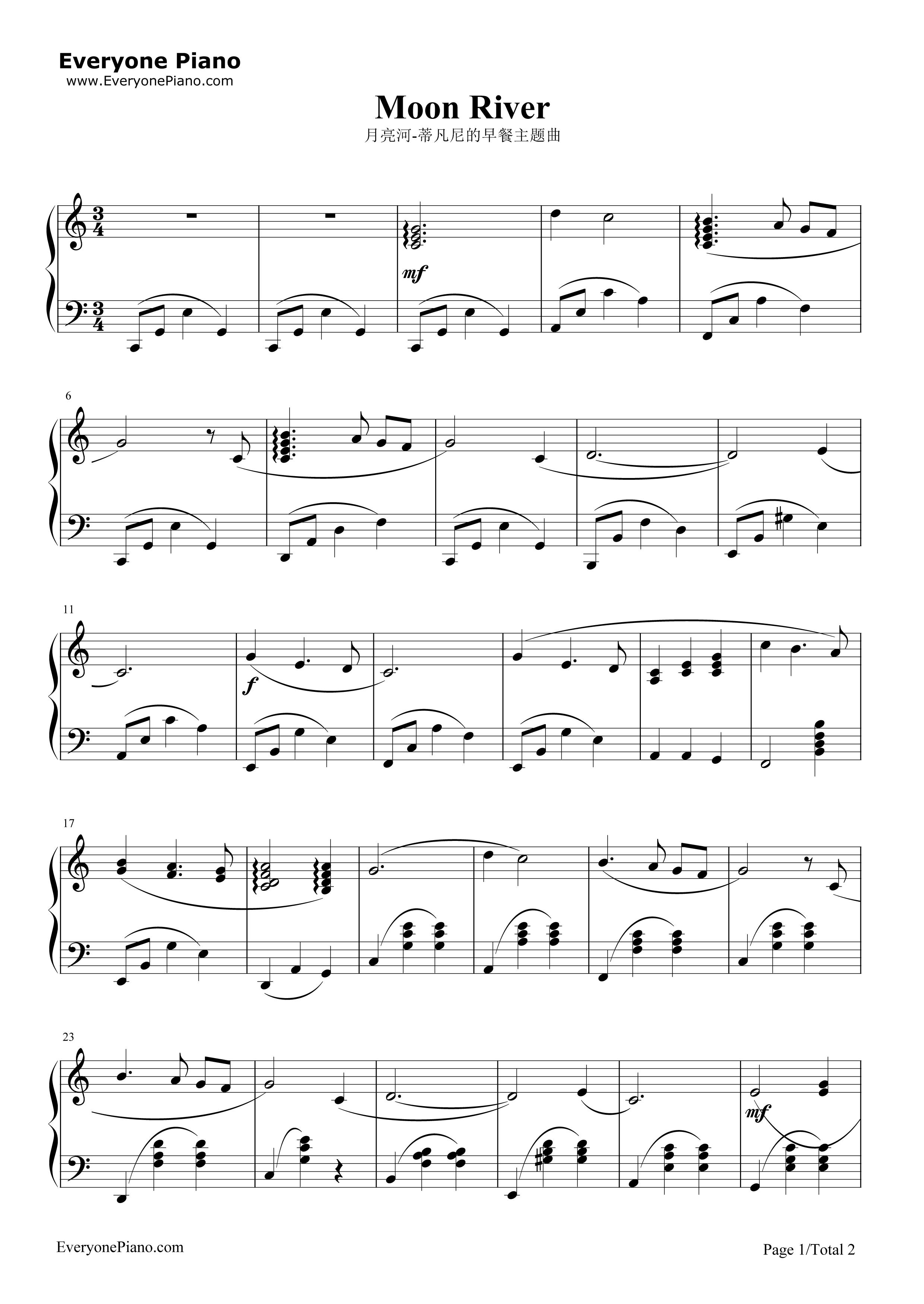 月亮河-moon river-蒂凡尼的早餐主题曲五线谱预览1