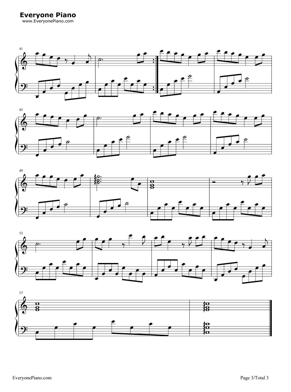 网站首页 钢琴曲谱 流行 两只蝴蝶 >> 两只蝴蝶五线谱预览3  * 仅供