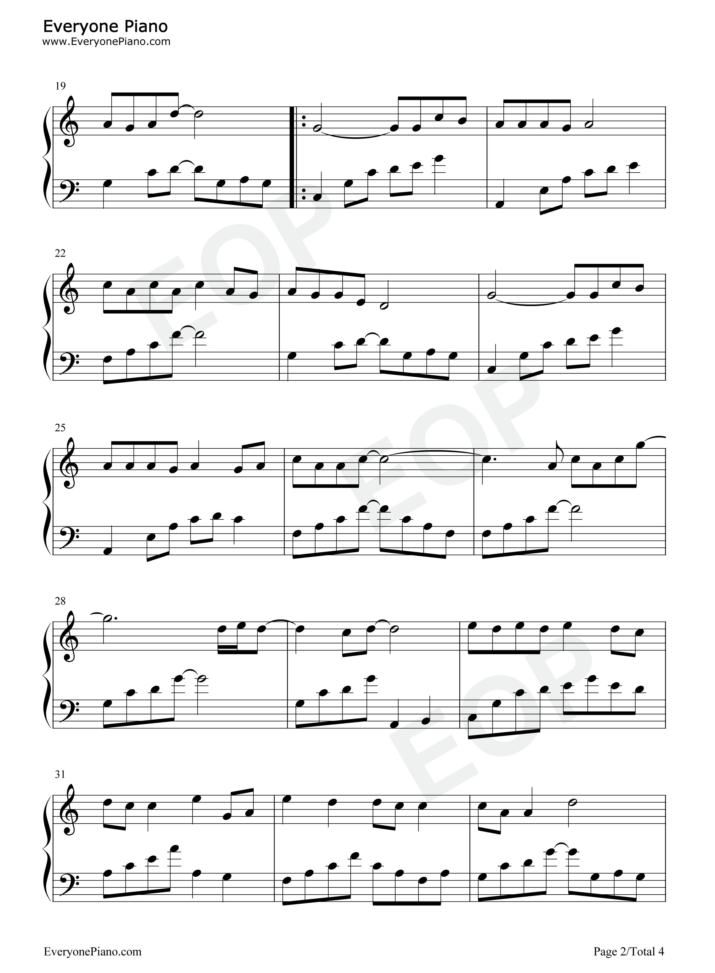 猪之歌五线谱预览2-钢琴谱