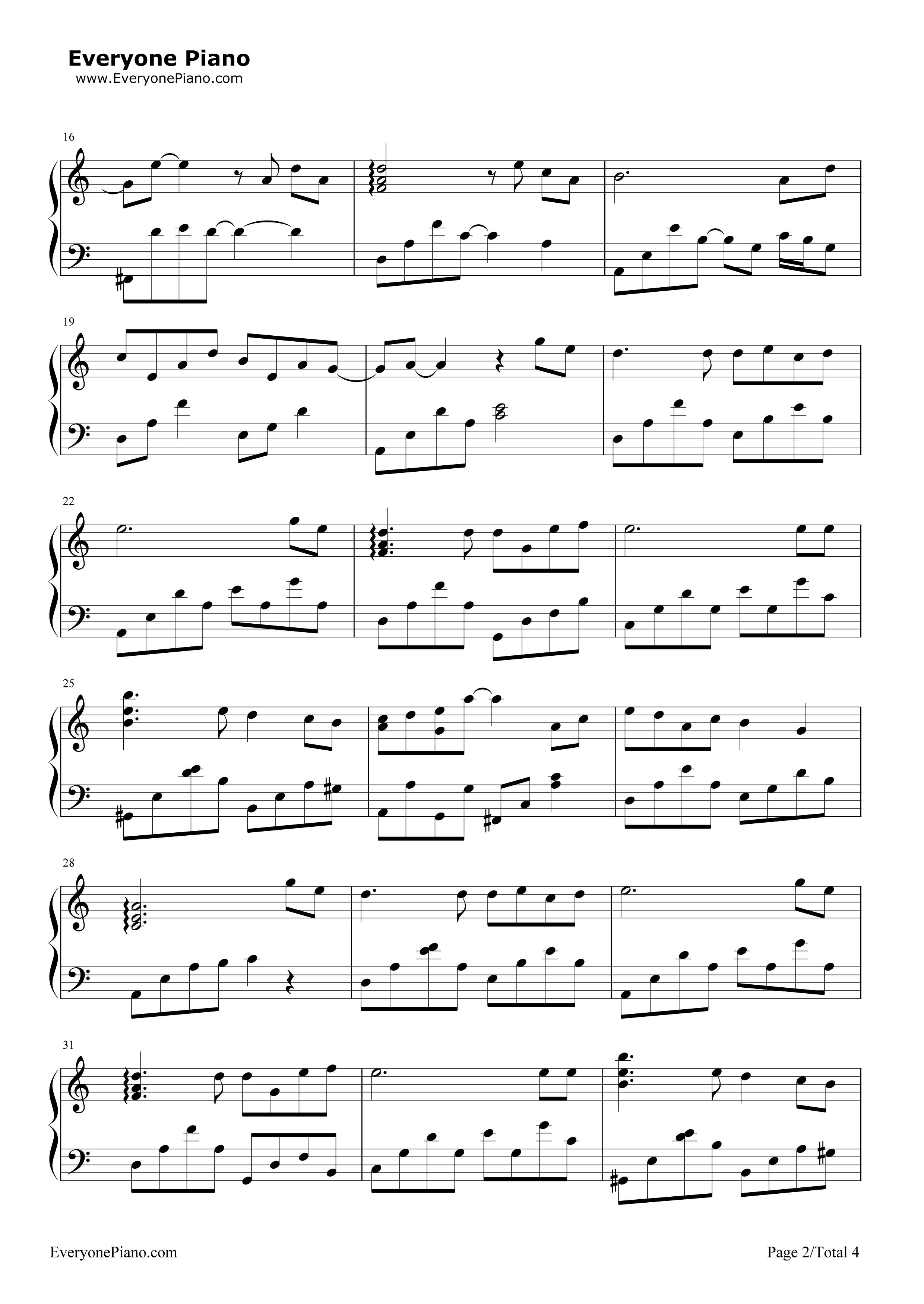 钢琴曲谱 流行 烟花易冷 烟花易冷五线谱预览2  }  仅供学习交流使用!