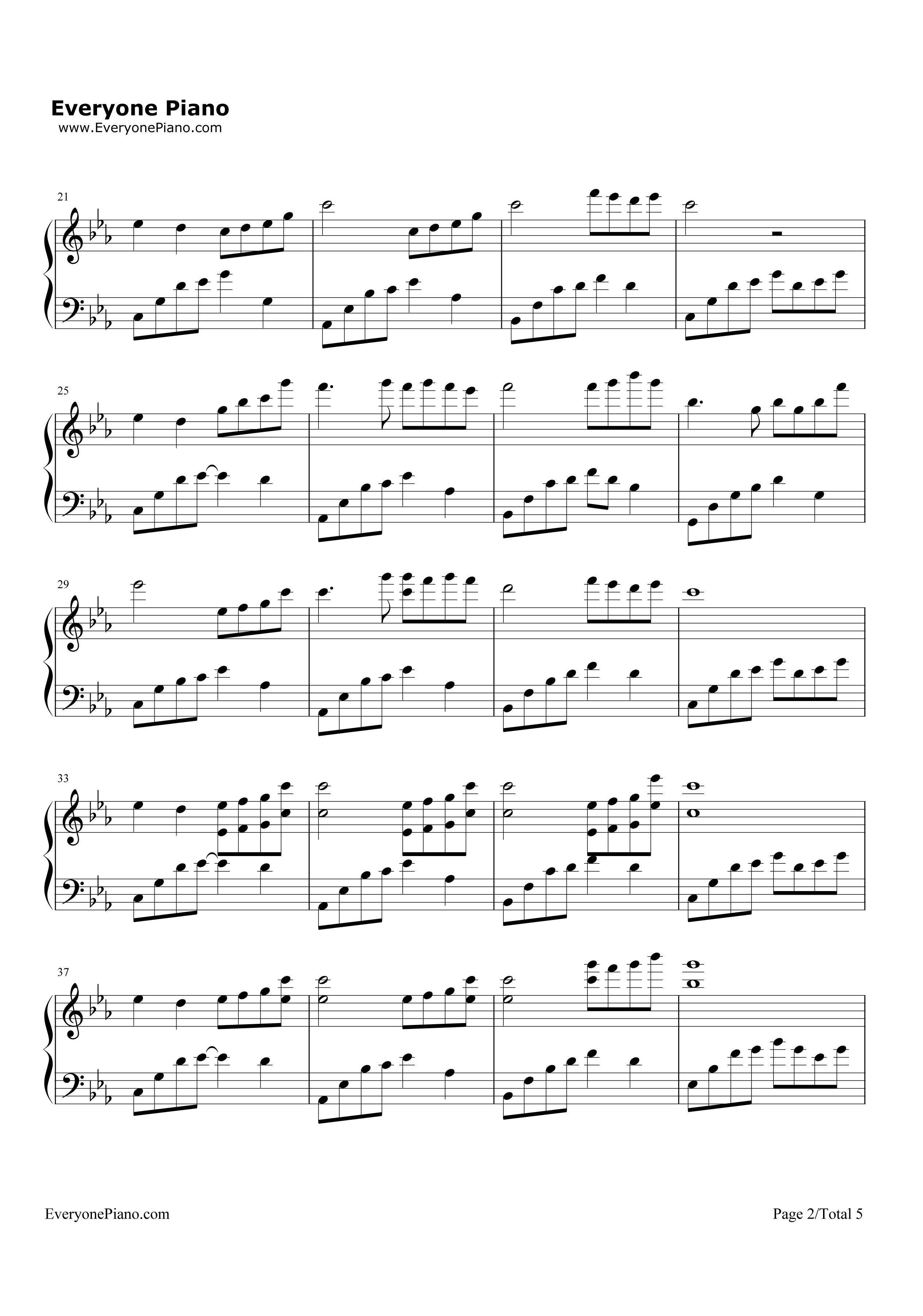 夜的钢琴曲(五)五线谱预览2