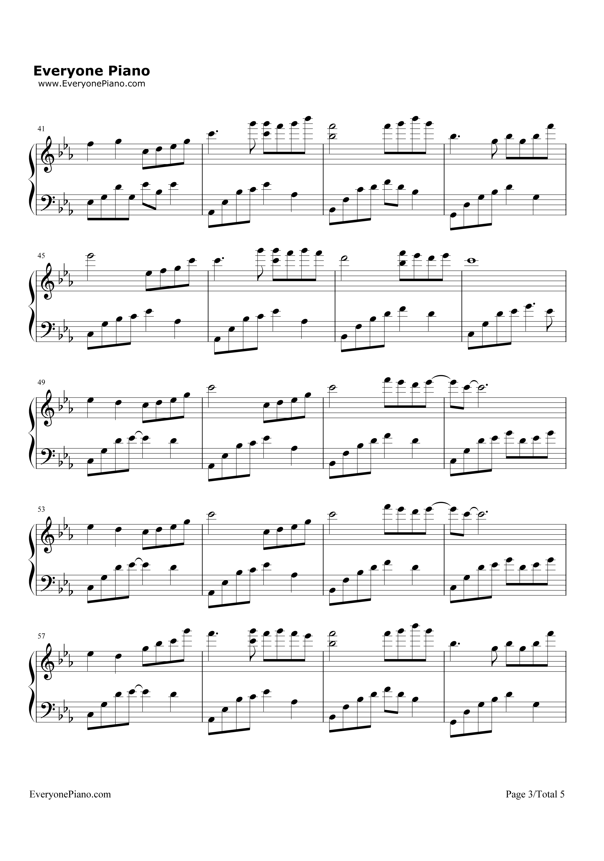 夜的钢琴曲(五)五线谱预览3-钢琴谱图片