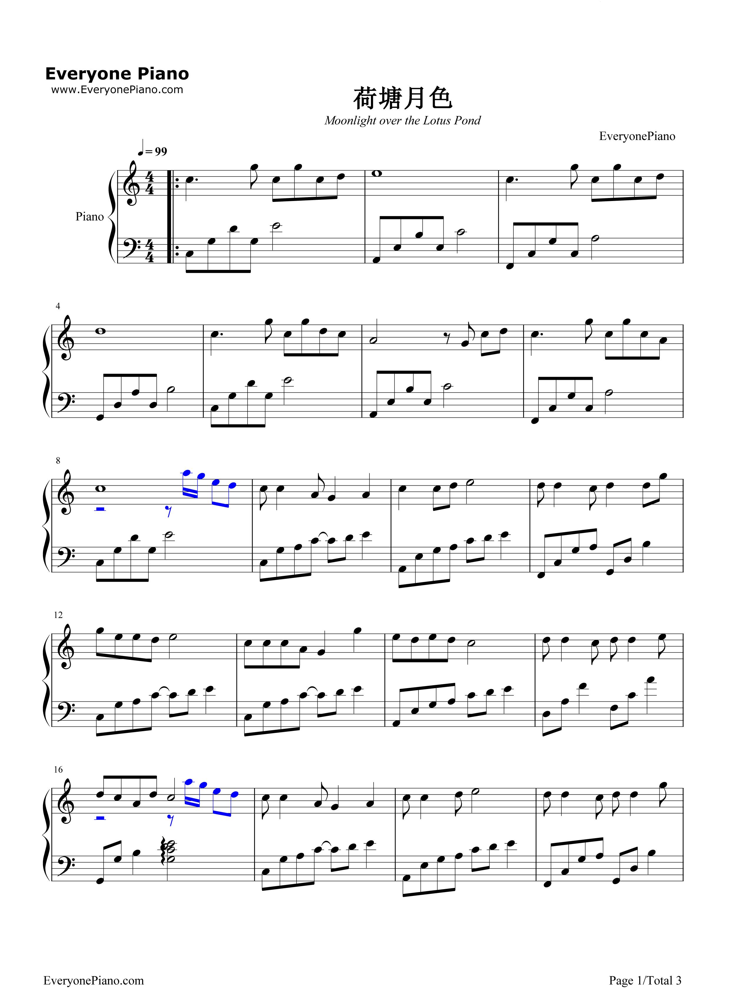 荷塘月色五线谱预览1-钢琴谱档(五线谱,双手简谱,数位