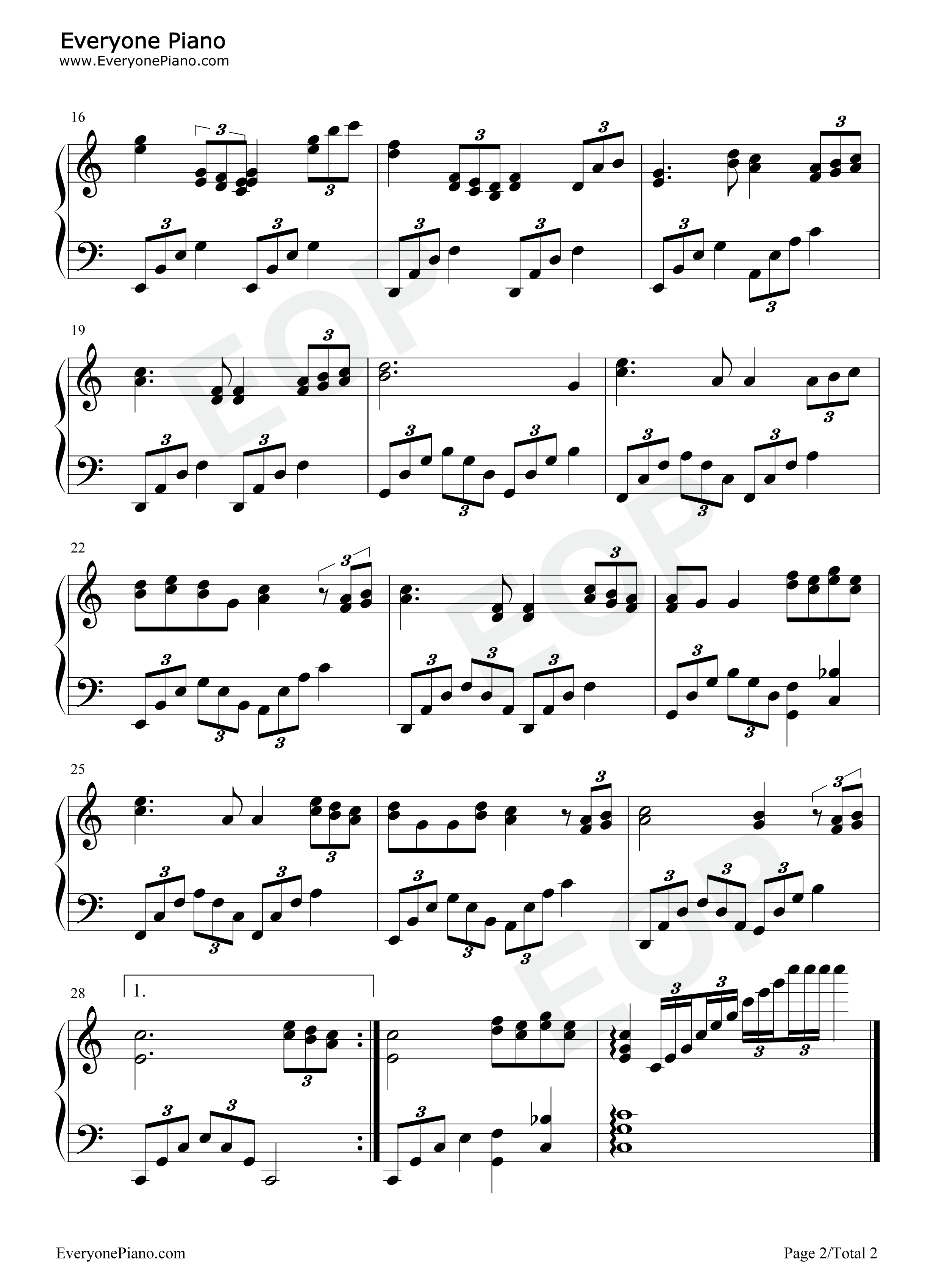 新不了情五线谱预览2-钢琴谱(五线谱,双手简谱)免费