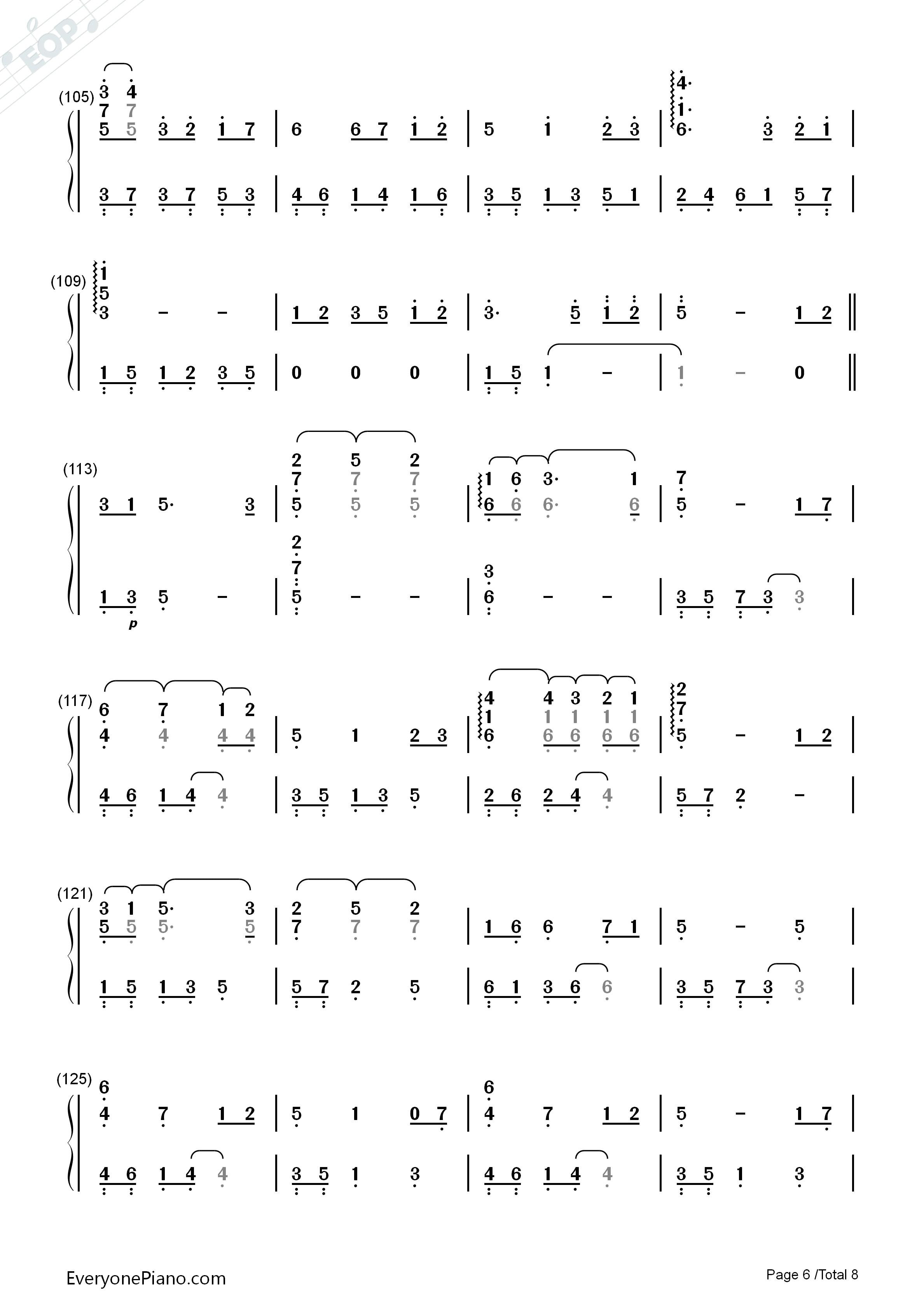 always with me-千与千寻片尾曲双手简谱预览6-钢琴谱