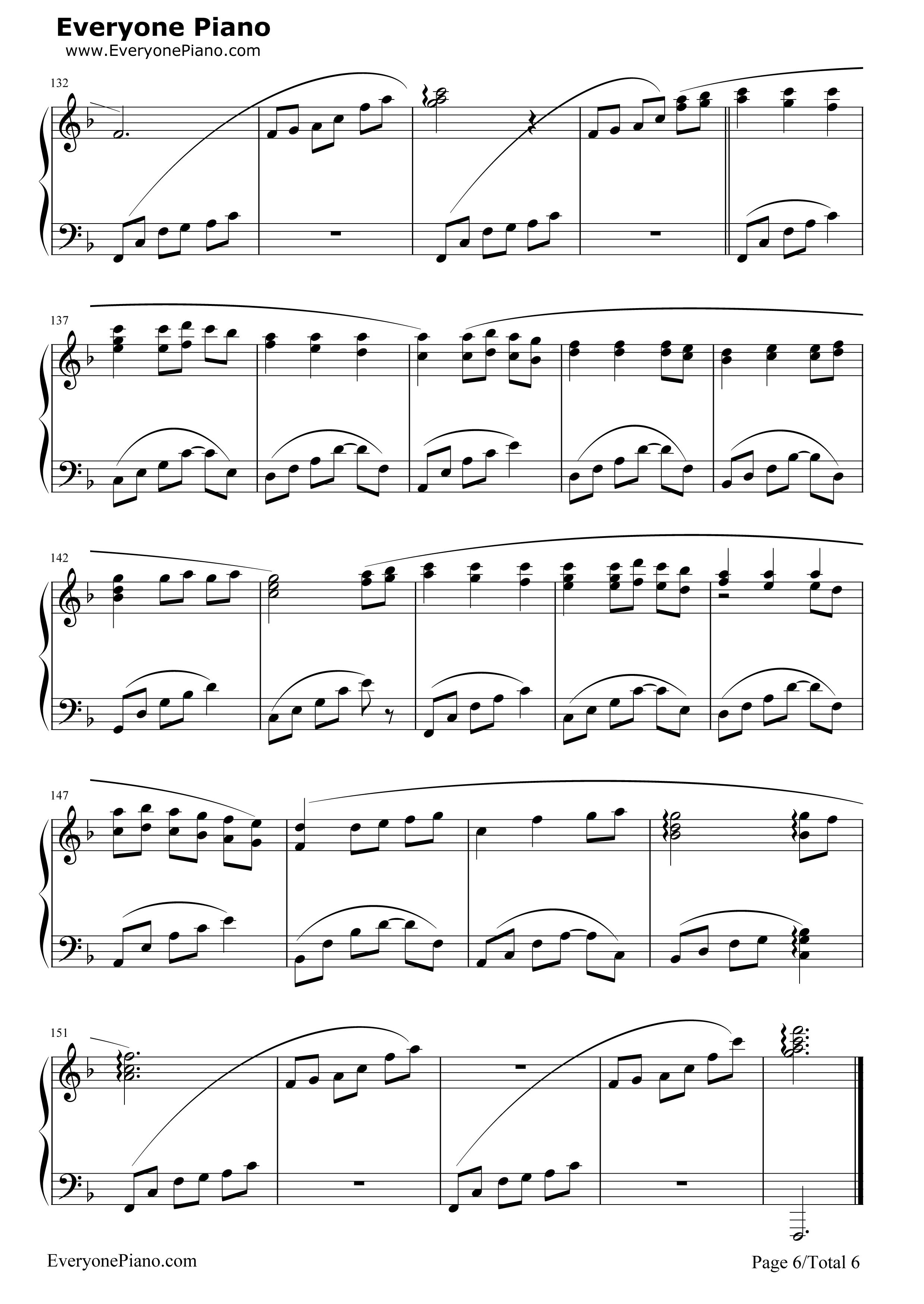 always with me-千与千寻片尾曲五线谱预览6-钢琴谱
