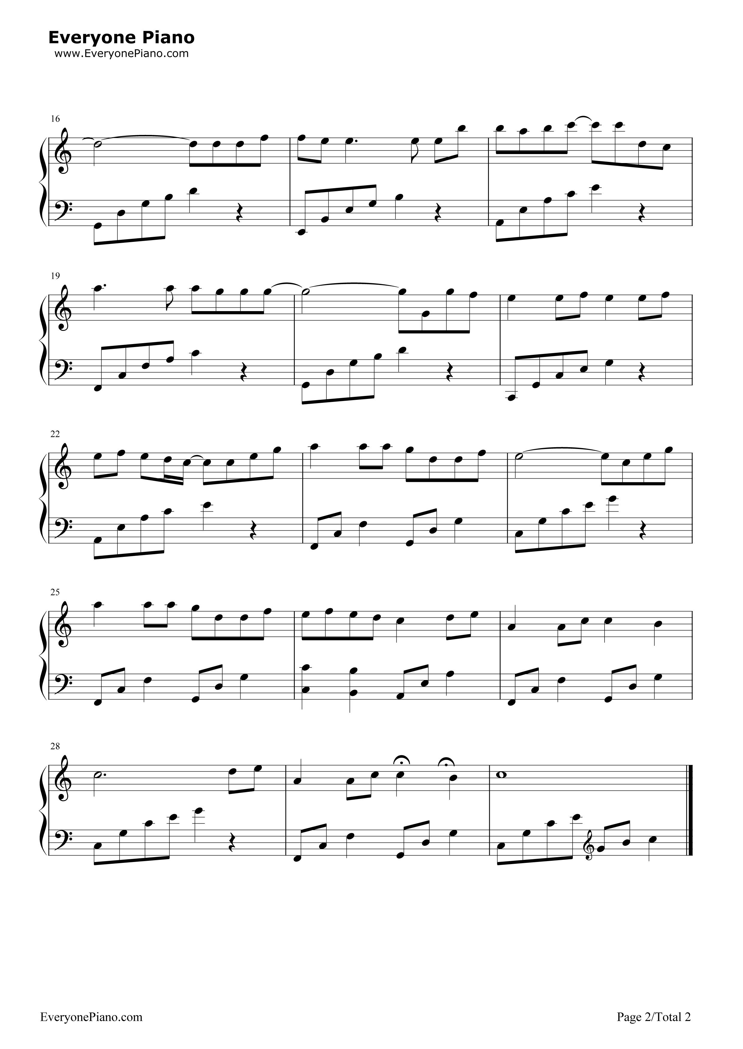 童话五线谱预览2-钢琴谱(五线谱,双手简谱)免费下载