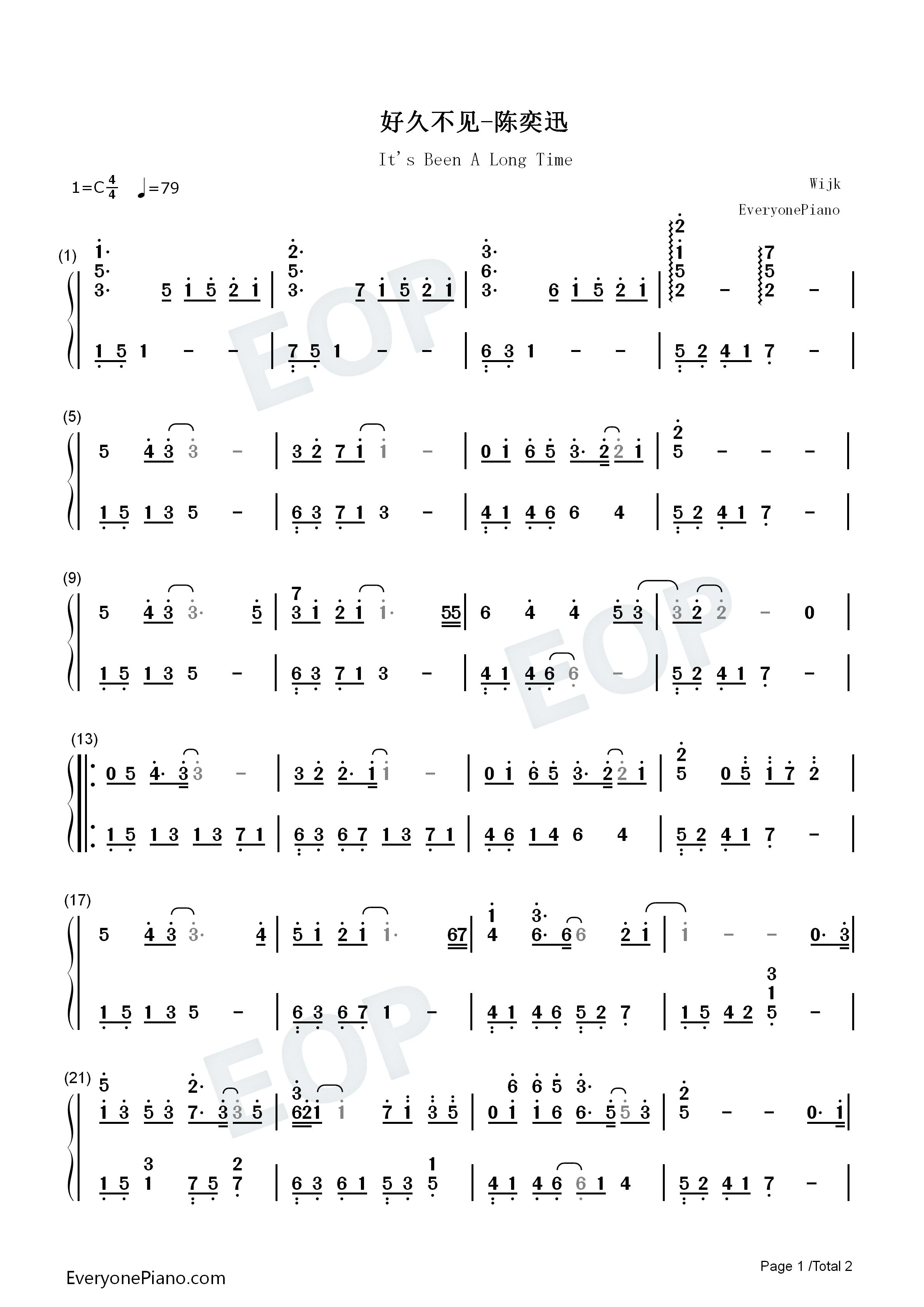 好久不见双手简谱预览1-钢琴谱(五线谱,双手简谱)免费