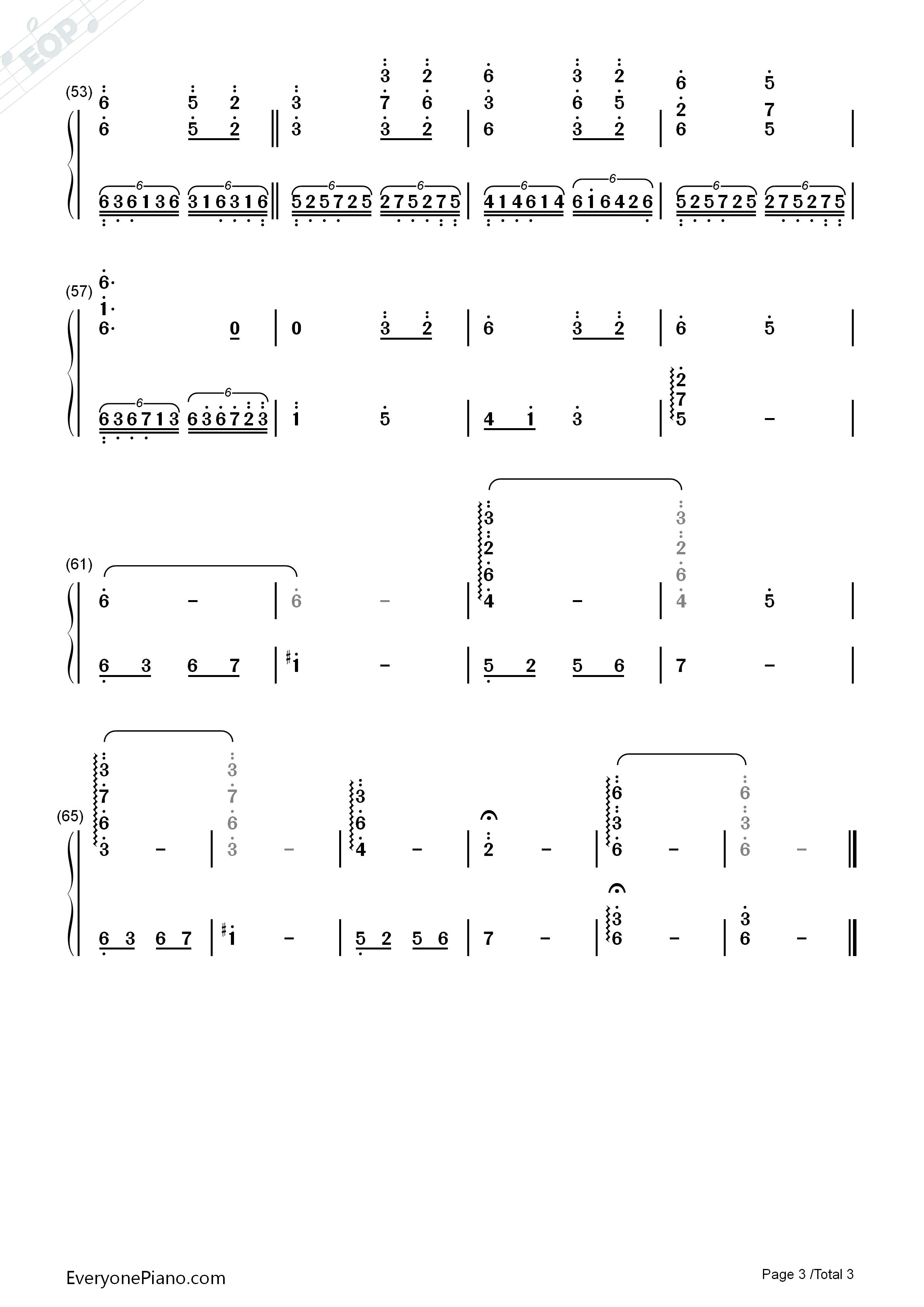 穿越时空的思念-犬夜叉背景音乐双手简谱预览3