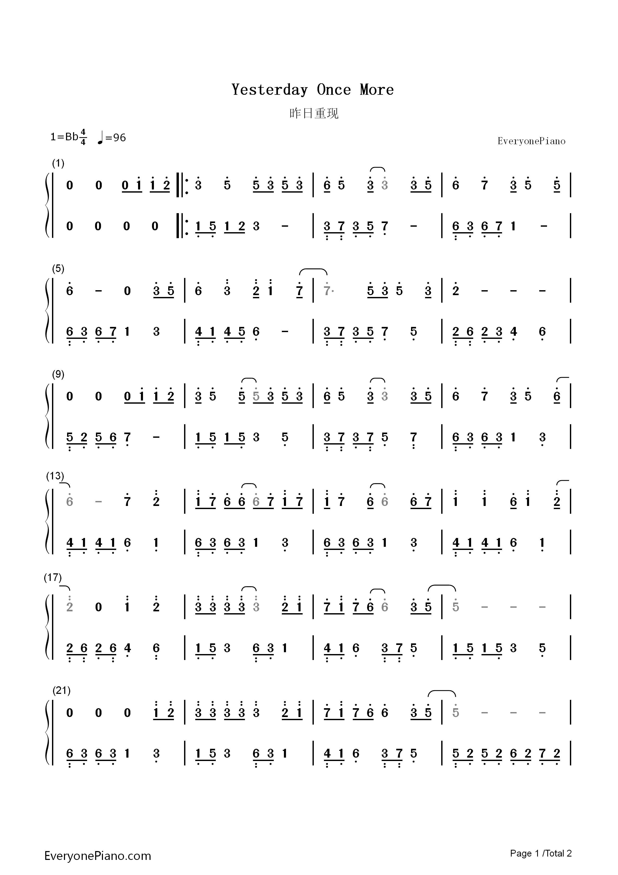 more双手简谱预览1-钢琴谱