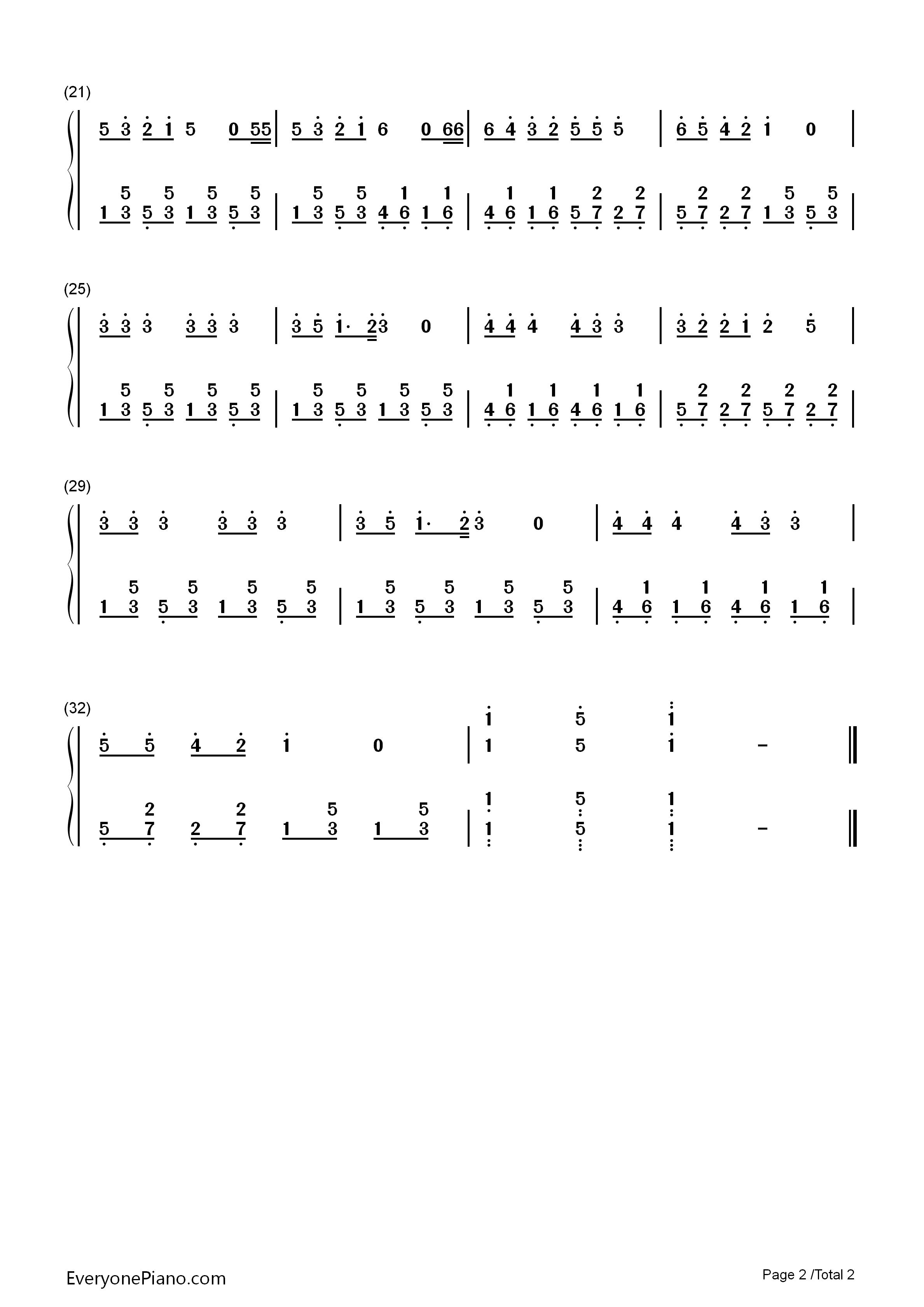 铃儿响叮当-jingle bells双手简谱预览2-钢琴谱(,双手