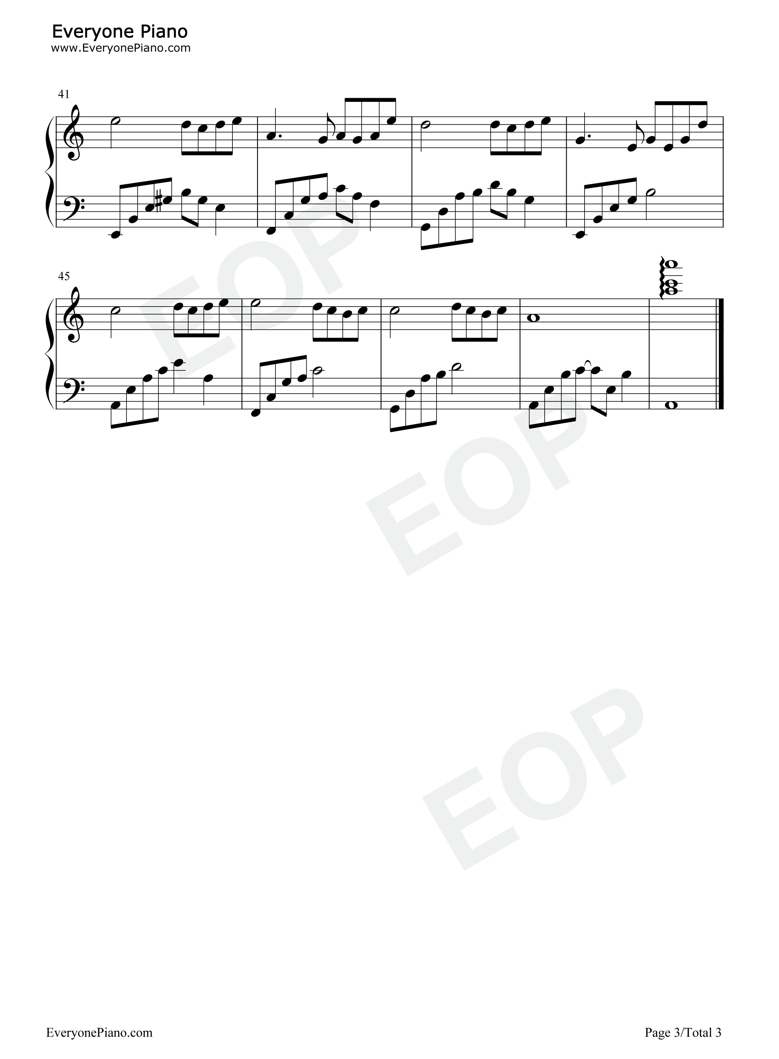 夜的钢琴曲 4五线谱预览3