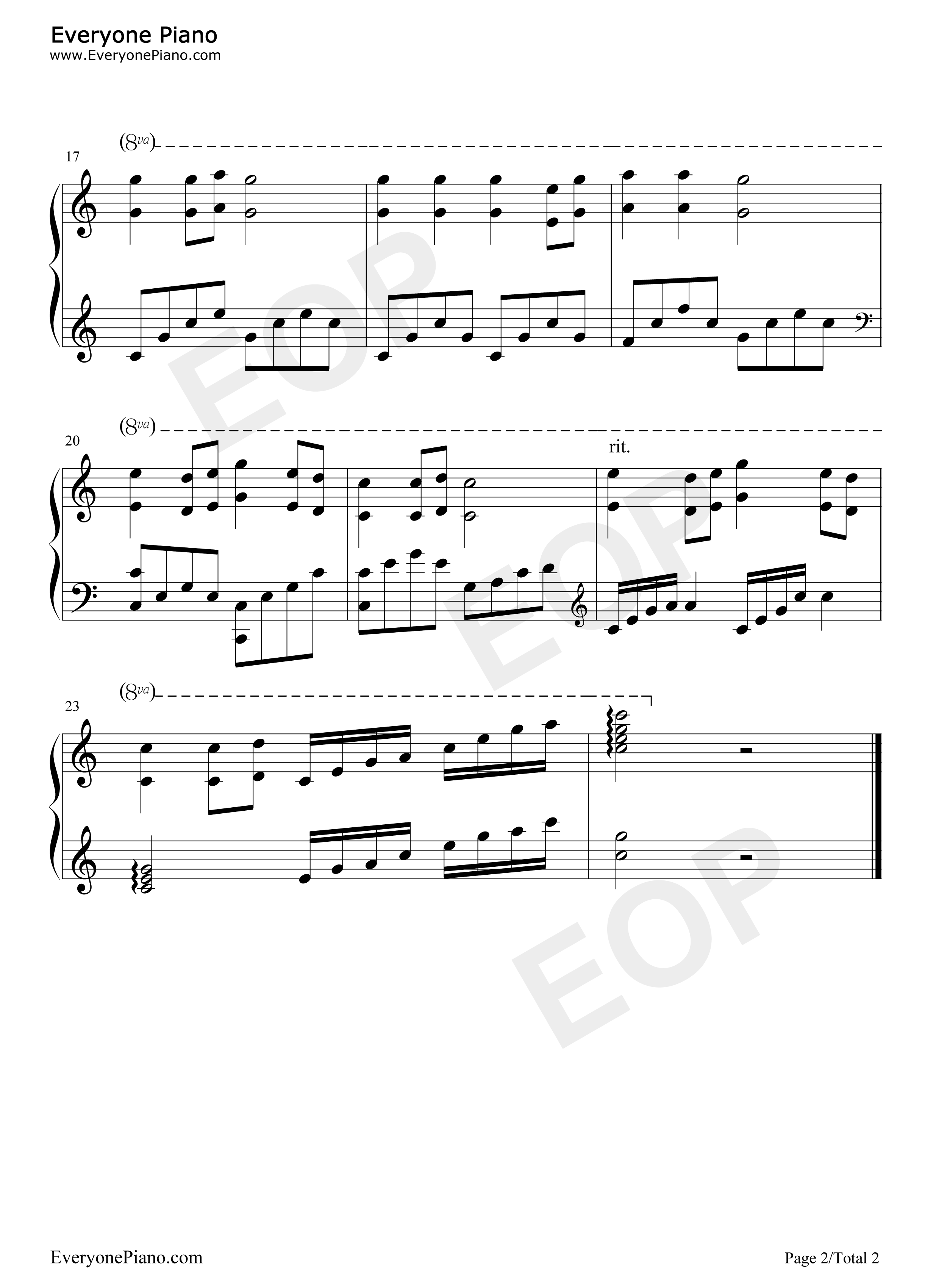 网站首页 钢琴曲谱 民乐 茉莉花 >> 茉莉花五线谱预览2