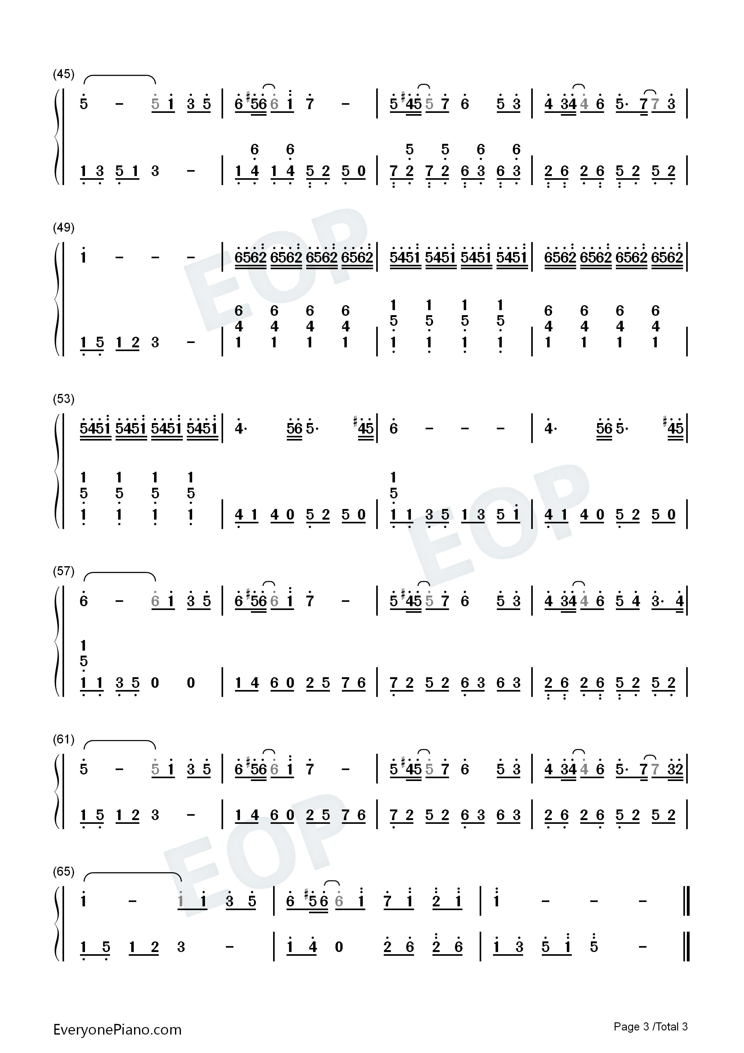 一个人的浪漫双手简谱预览3-钢琴谱(五线谱,双手简谱)