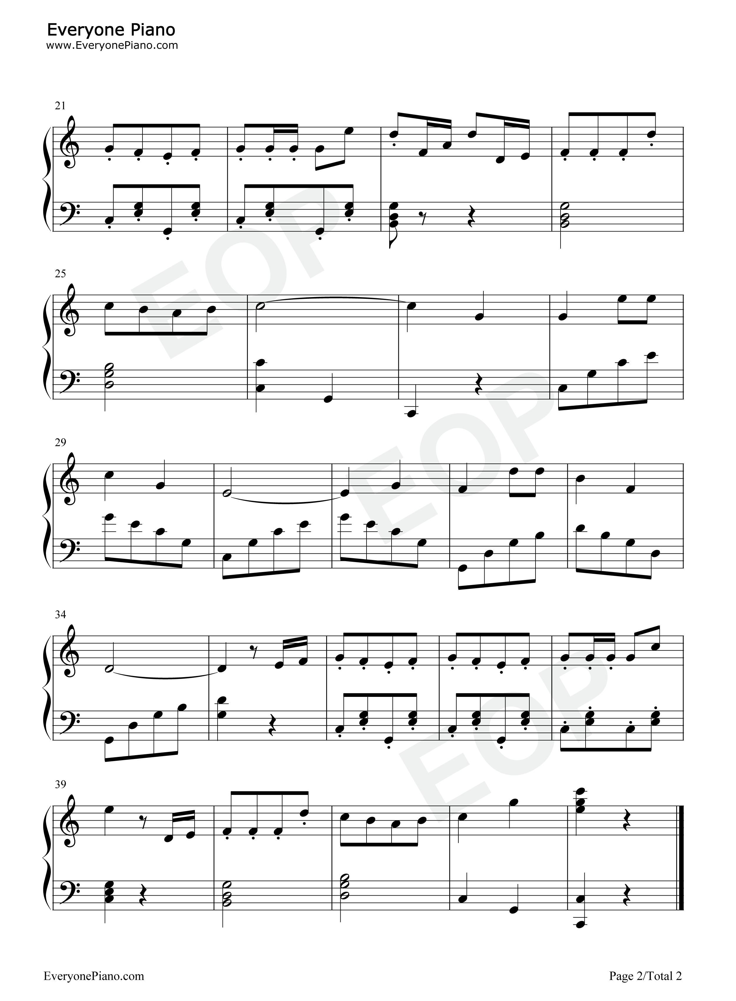 可爱的蓝精灵-the smurfs五线谱预览2