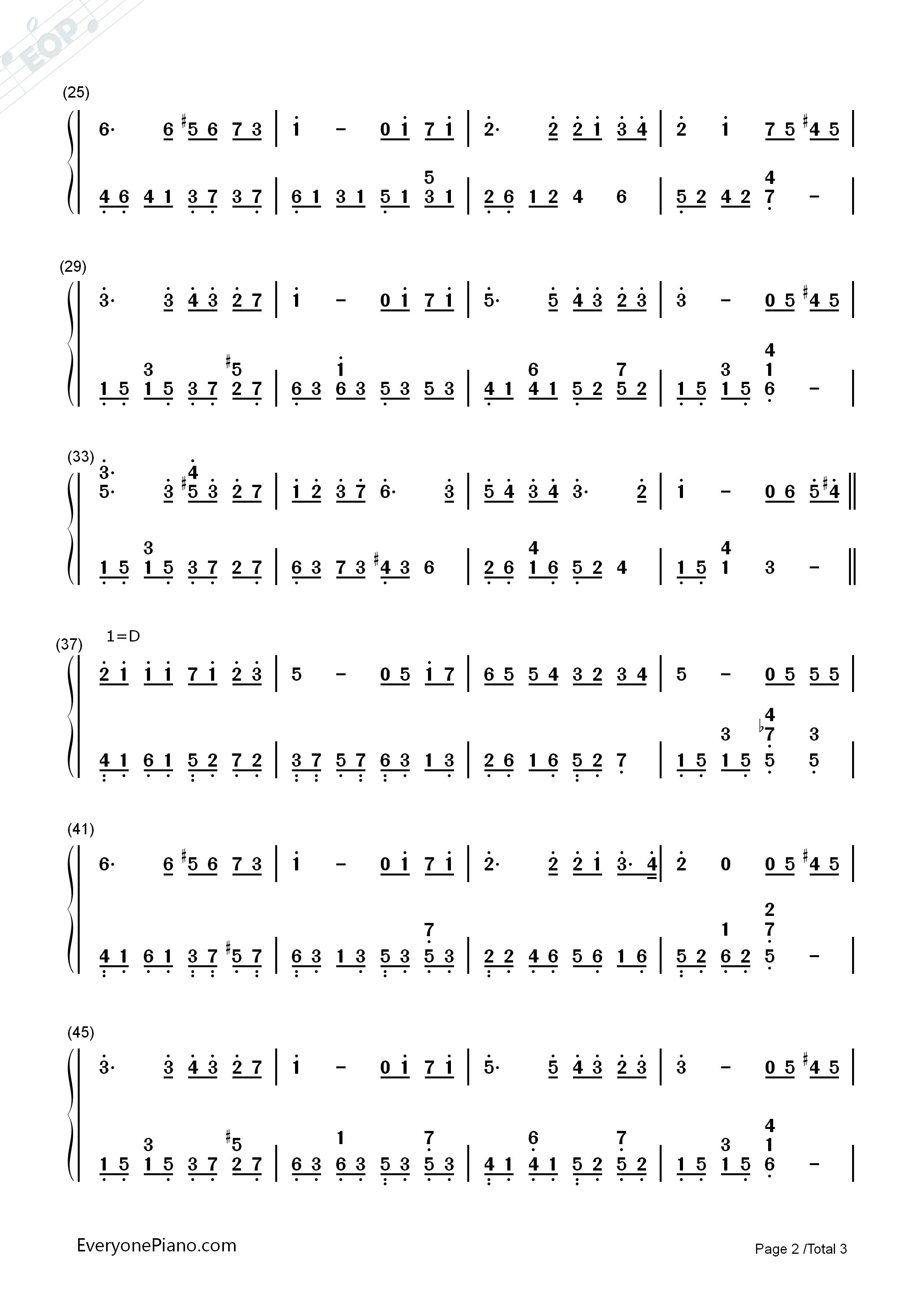 彩虹双手简谱预览2-钢琴谱(五线谱,双手简谱)免费下载