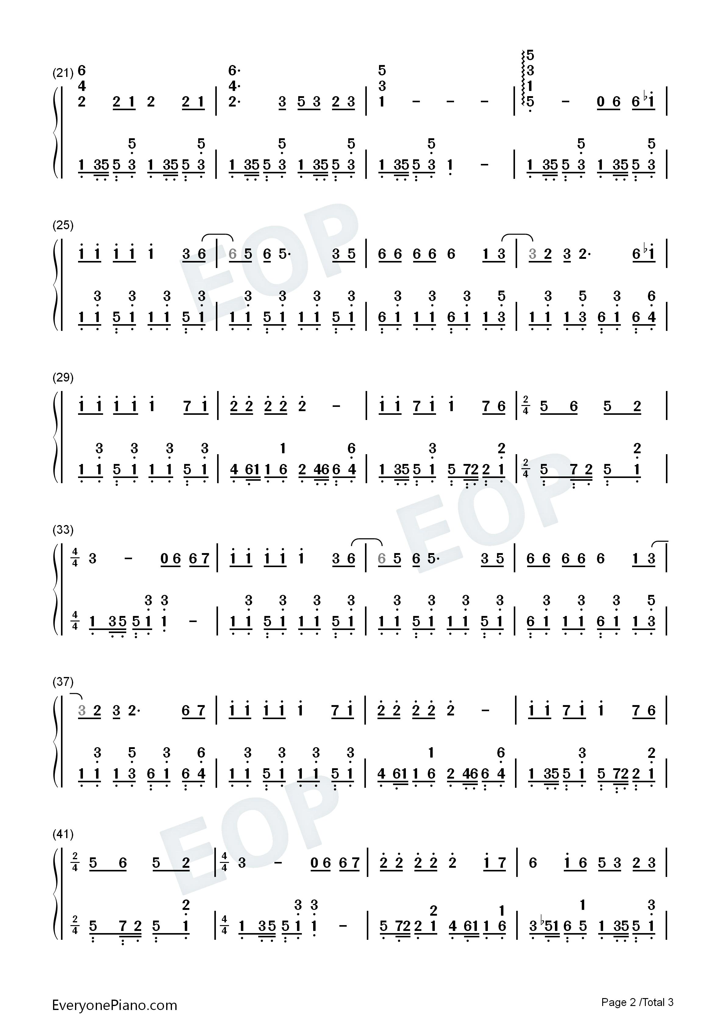 爱双手简谱预览2-钢琴谱档(五线谱,双手简谱,数位谱