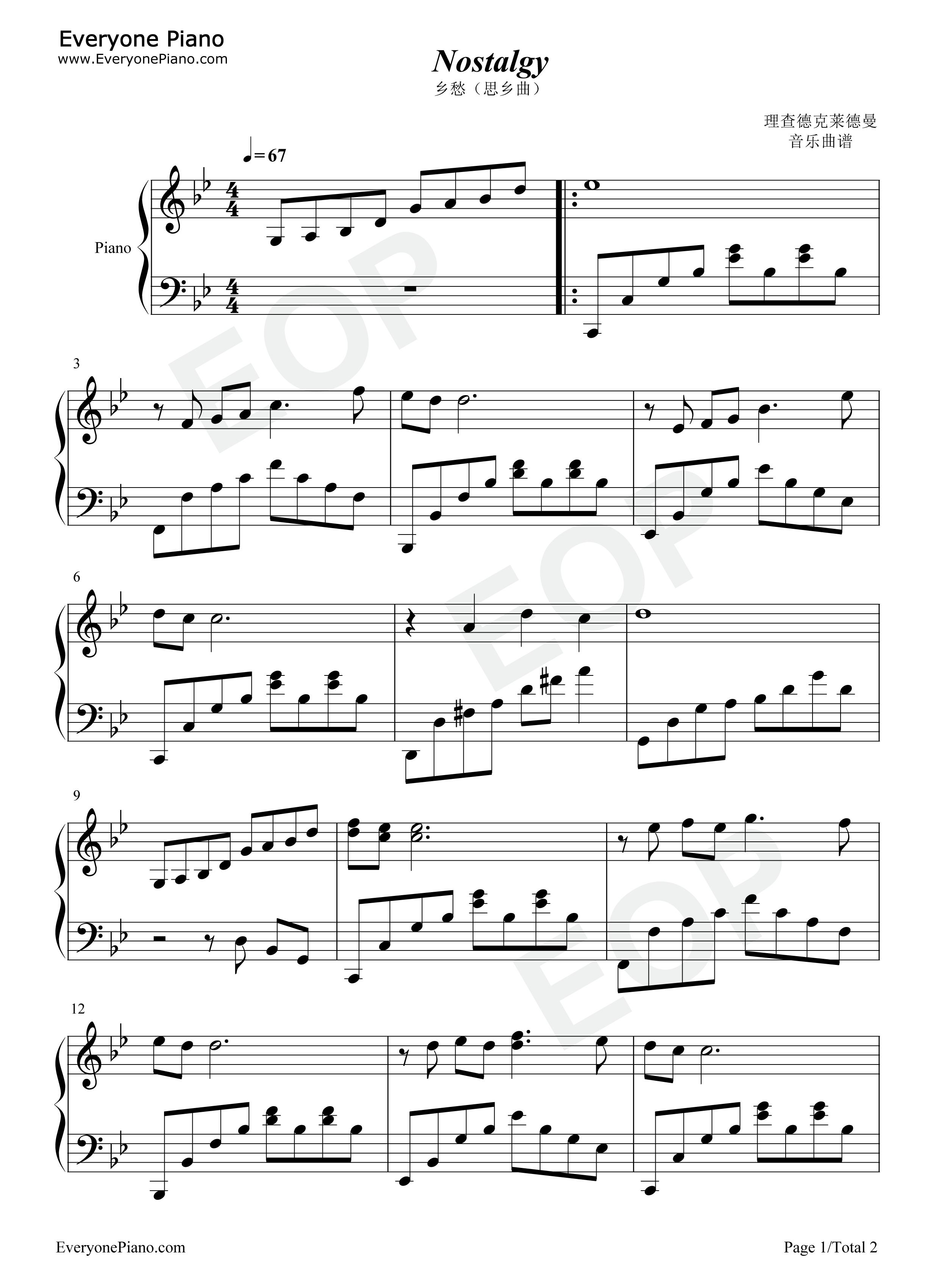 网站首页 钢琴曲谱 轻音乐 乡愁-思乡曲-nostalgy >> 乡愁-思乡曲