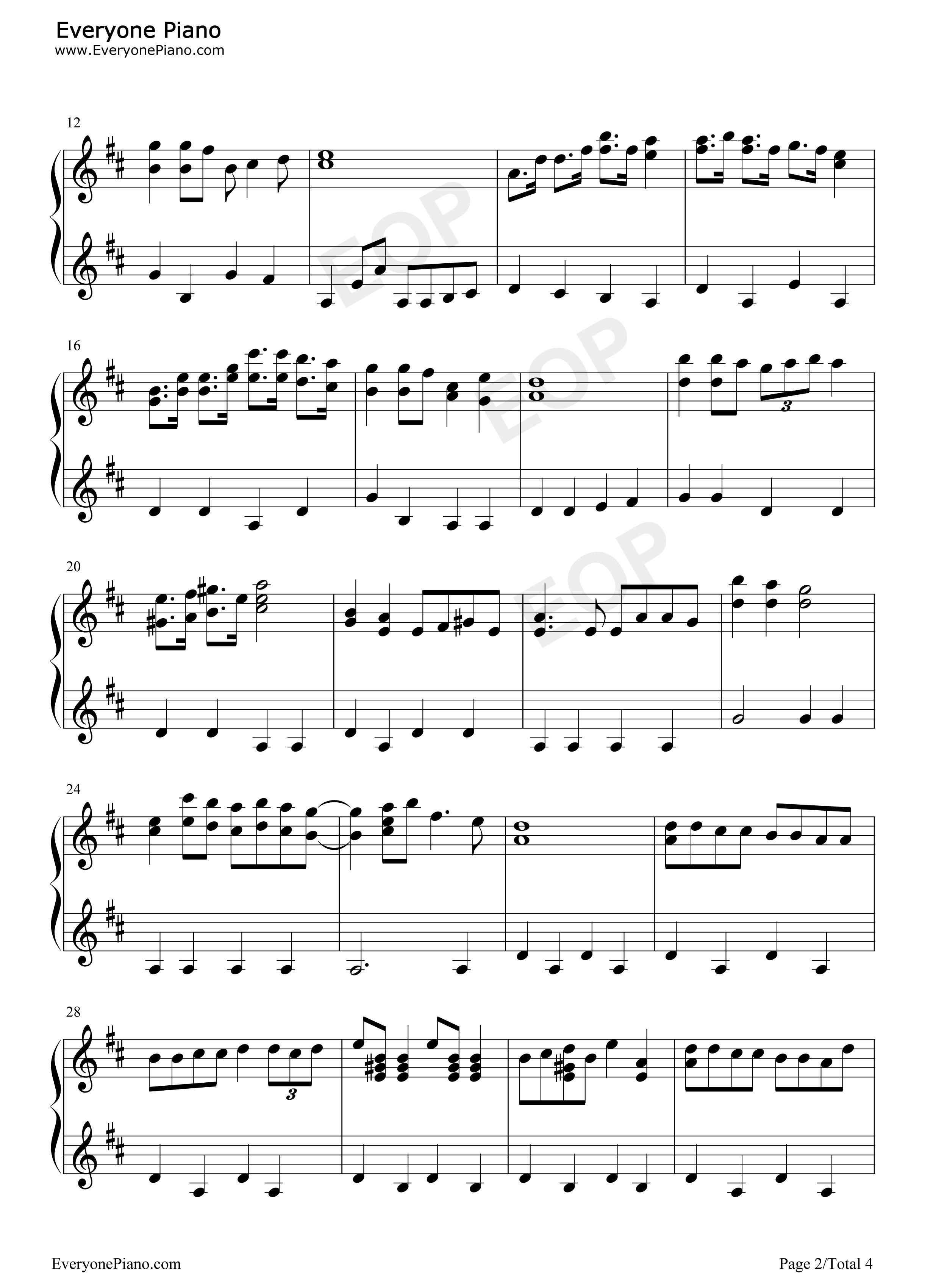 哆啦A夢主題曲-哆啦A夢之歌-Doraemon五線譜預覽2-鋼琴譜檔(五線譜、雙手簡譜、數位譜、Midi、PDF)免費下載
