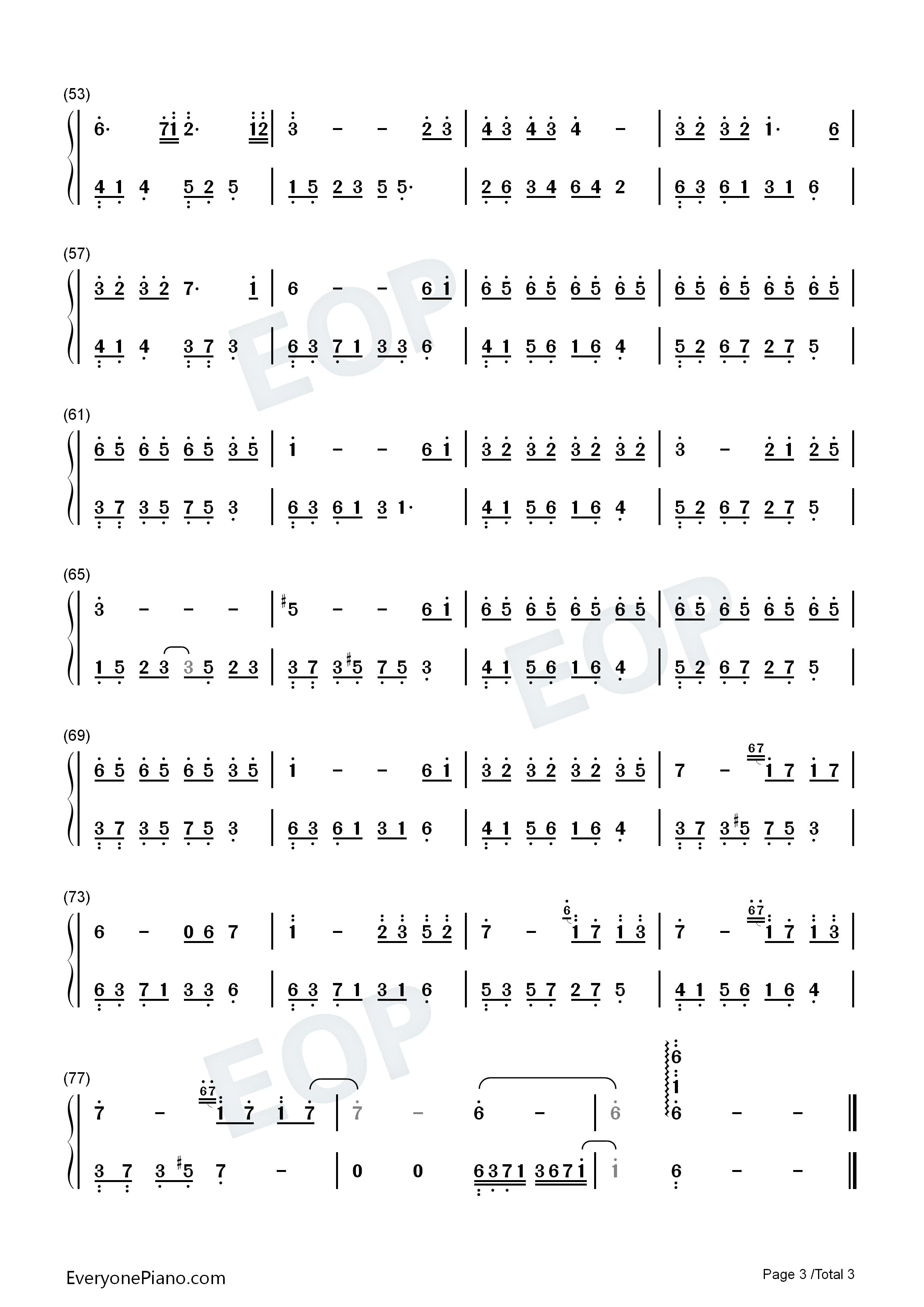 夜的钢琴曲 6双手简谱预览3-钢琴谱档(五线谱,双手,数