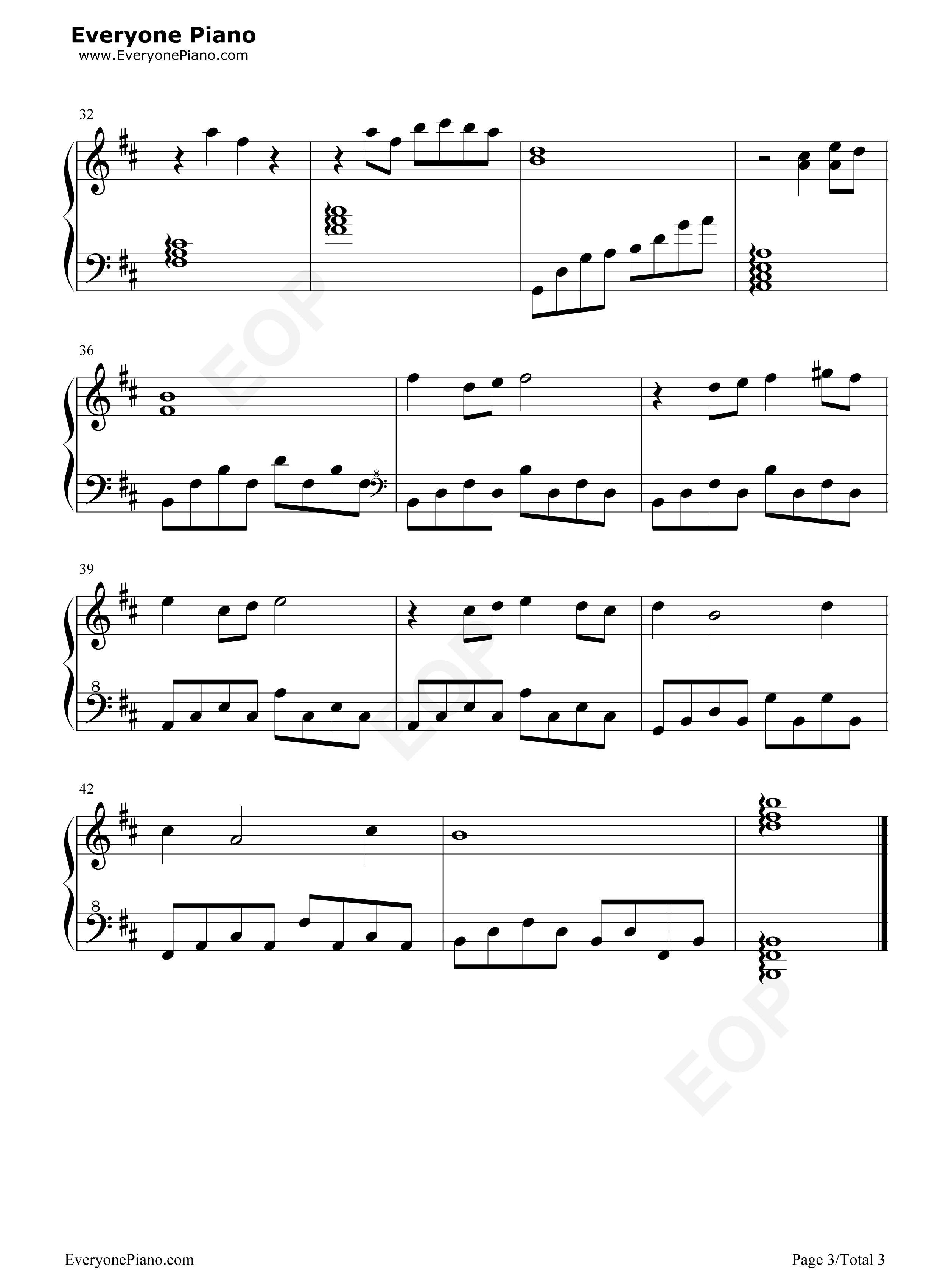 橄榄树五线谱预览3-钢琴谱