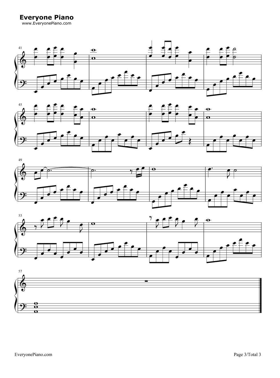 落花五线谱预览3-钢琴谱(五线谱,双手简谱)免费下载