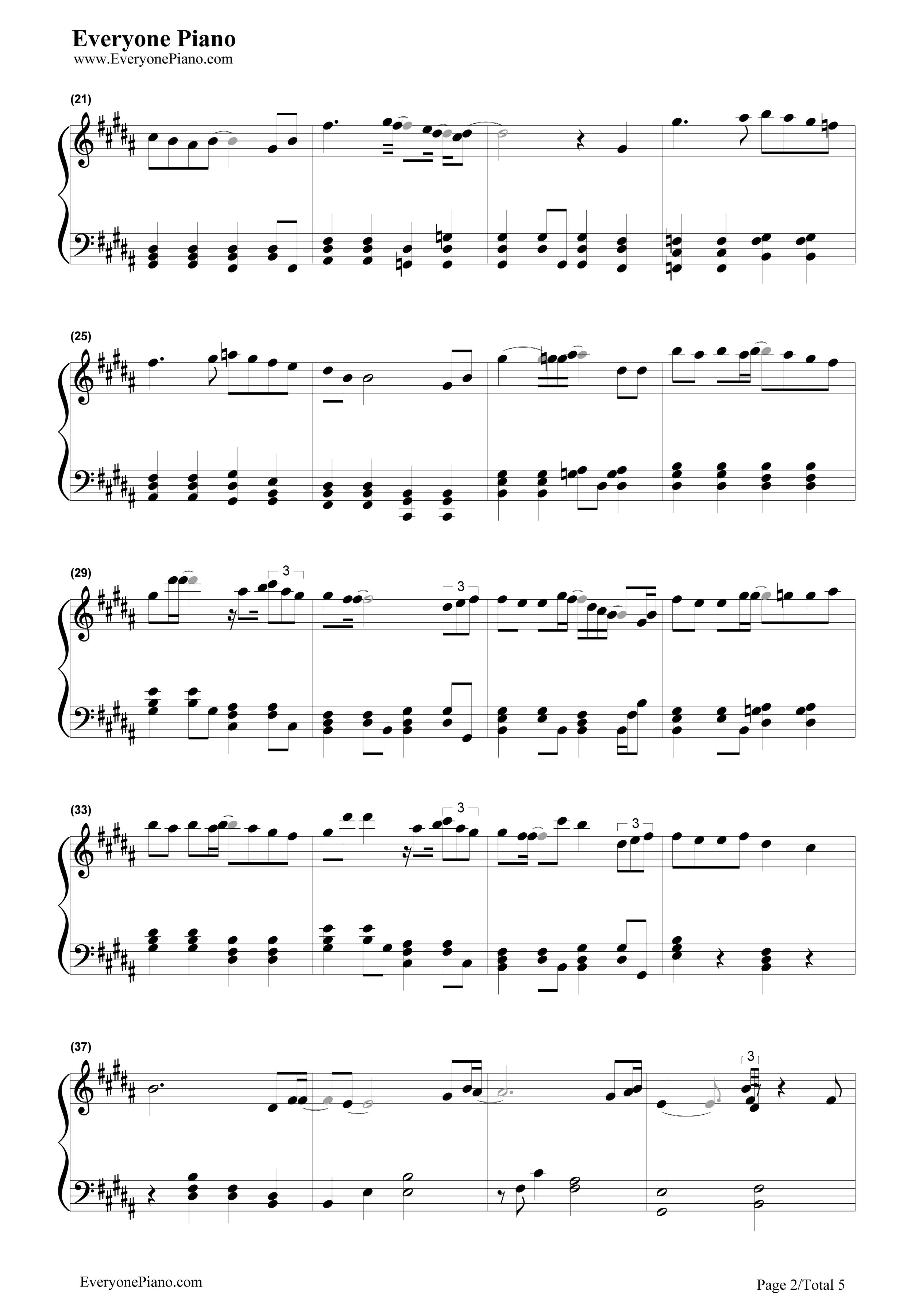 钢琴曲谱 流行 飘雪 飘雪五线谱预览2  }  仅供学习交流使用!