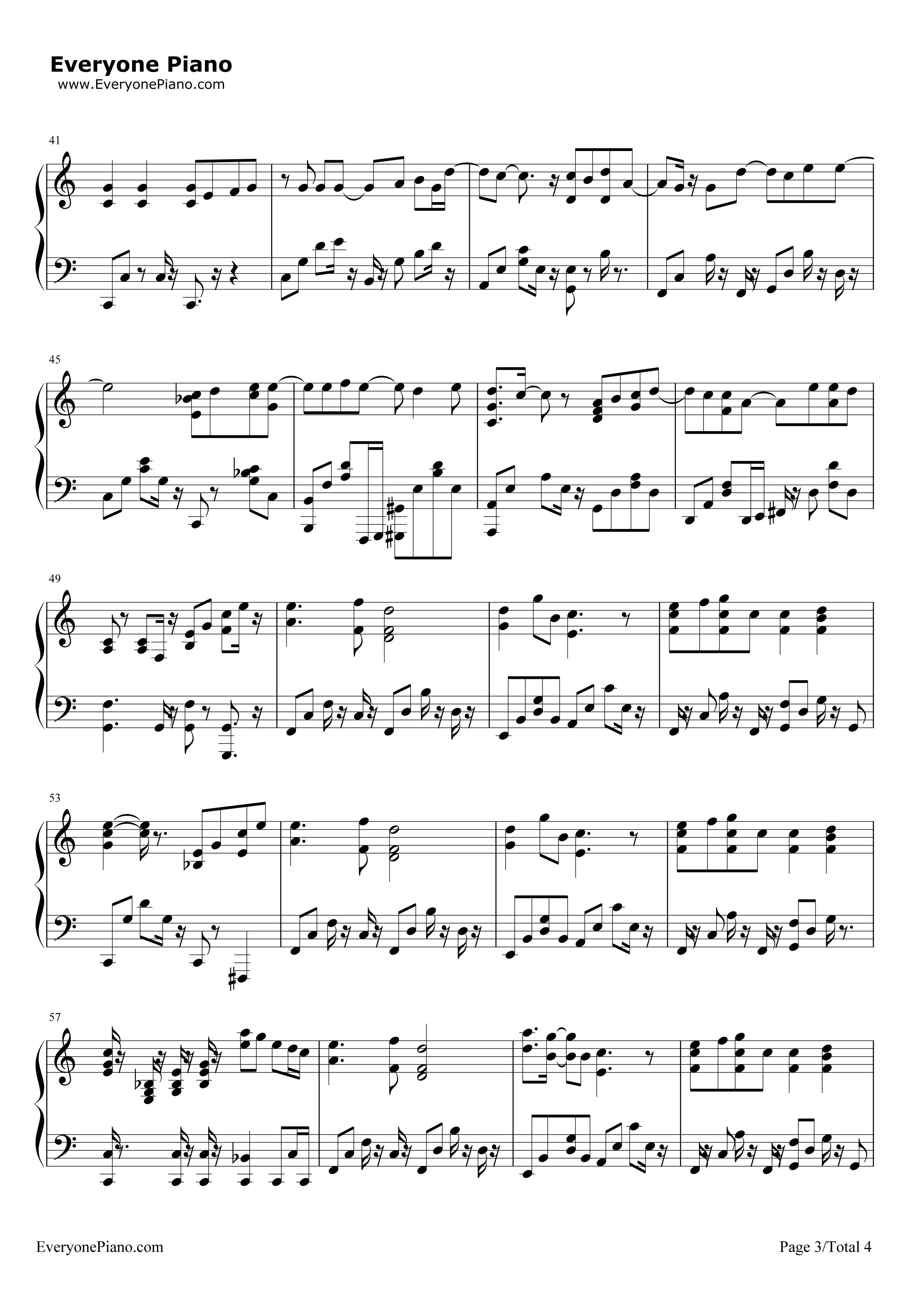 蒲公英的约定五线谱预览3-钢琴谱(五线谱,双手简谱)