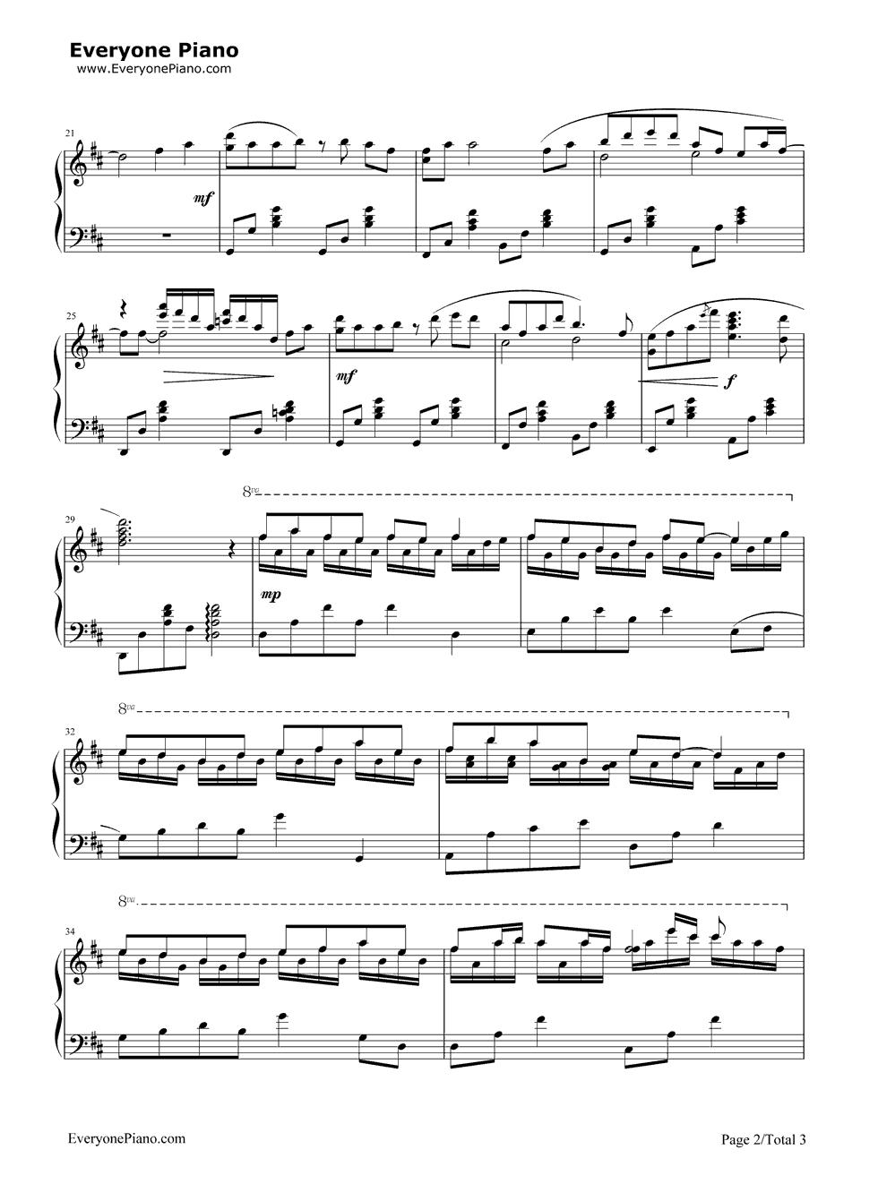 钢琴曲谱 流行 北京欢迎你 北京欢迎你五线谱预览2  }  仅供学习交流