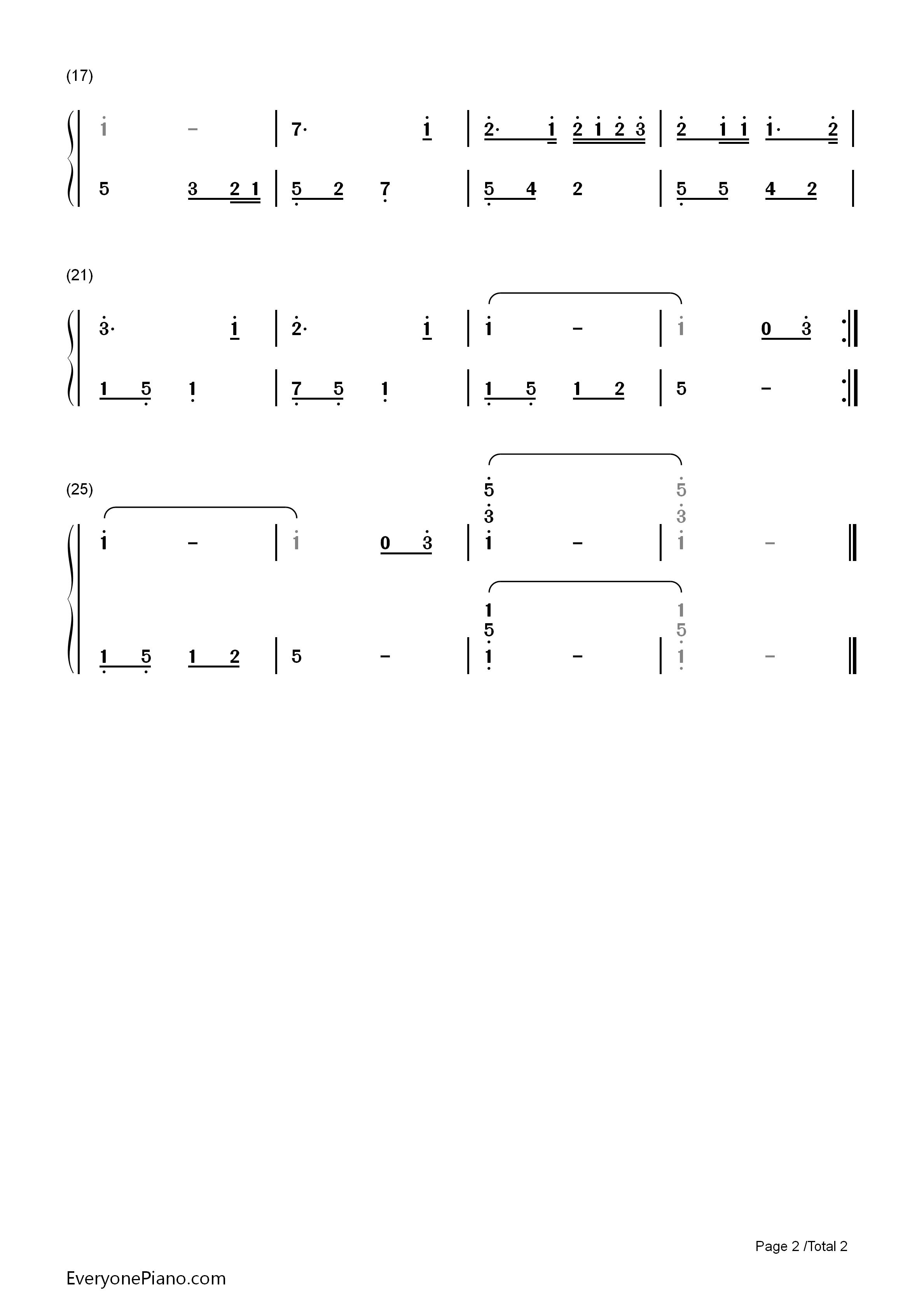 钢琴曲谱 儿歌 宝贝 宝贝双手简谱预览2  }  仅供学习交流使用!