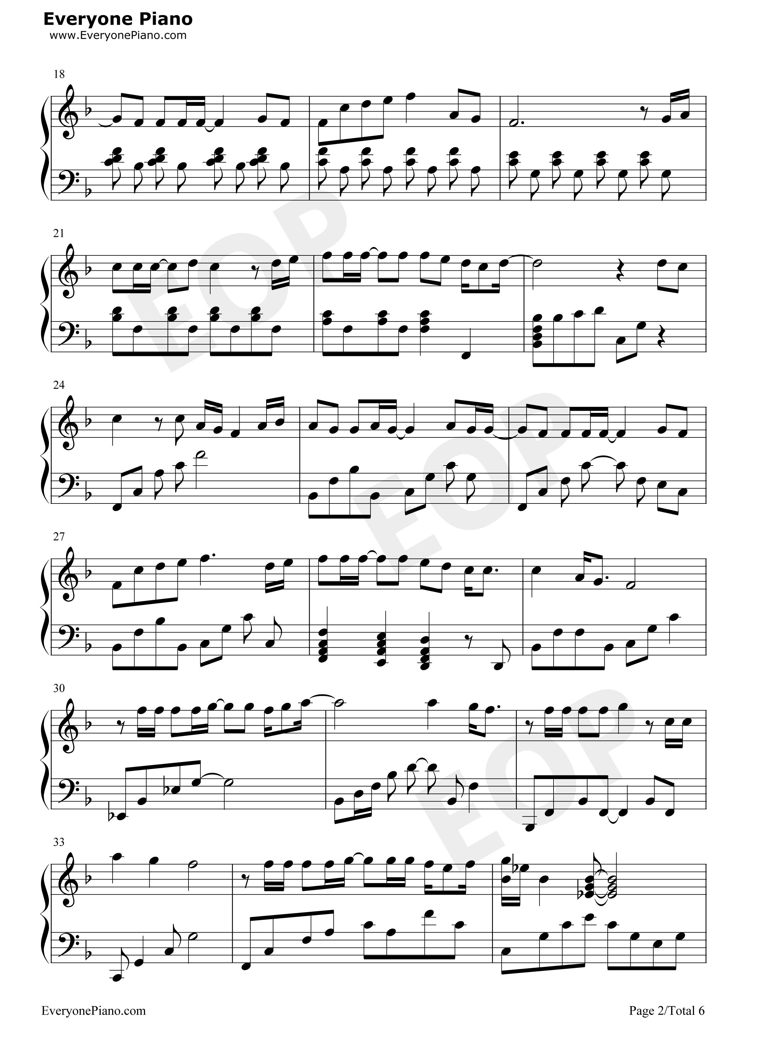 海阔天空五线谱预览2-钢琴谱(五线谱,双手简谱)免费