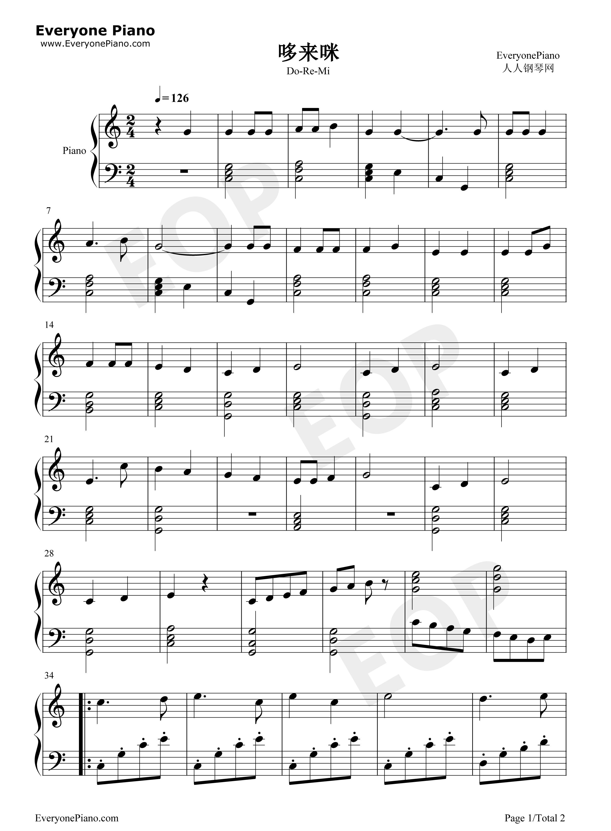 钢琴曲谱 儿歌 哆来咪-音乐之声插曲 哆来咪-音乐之声插曲五线谱预览1