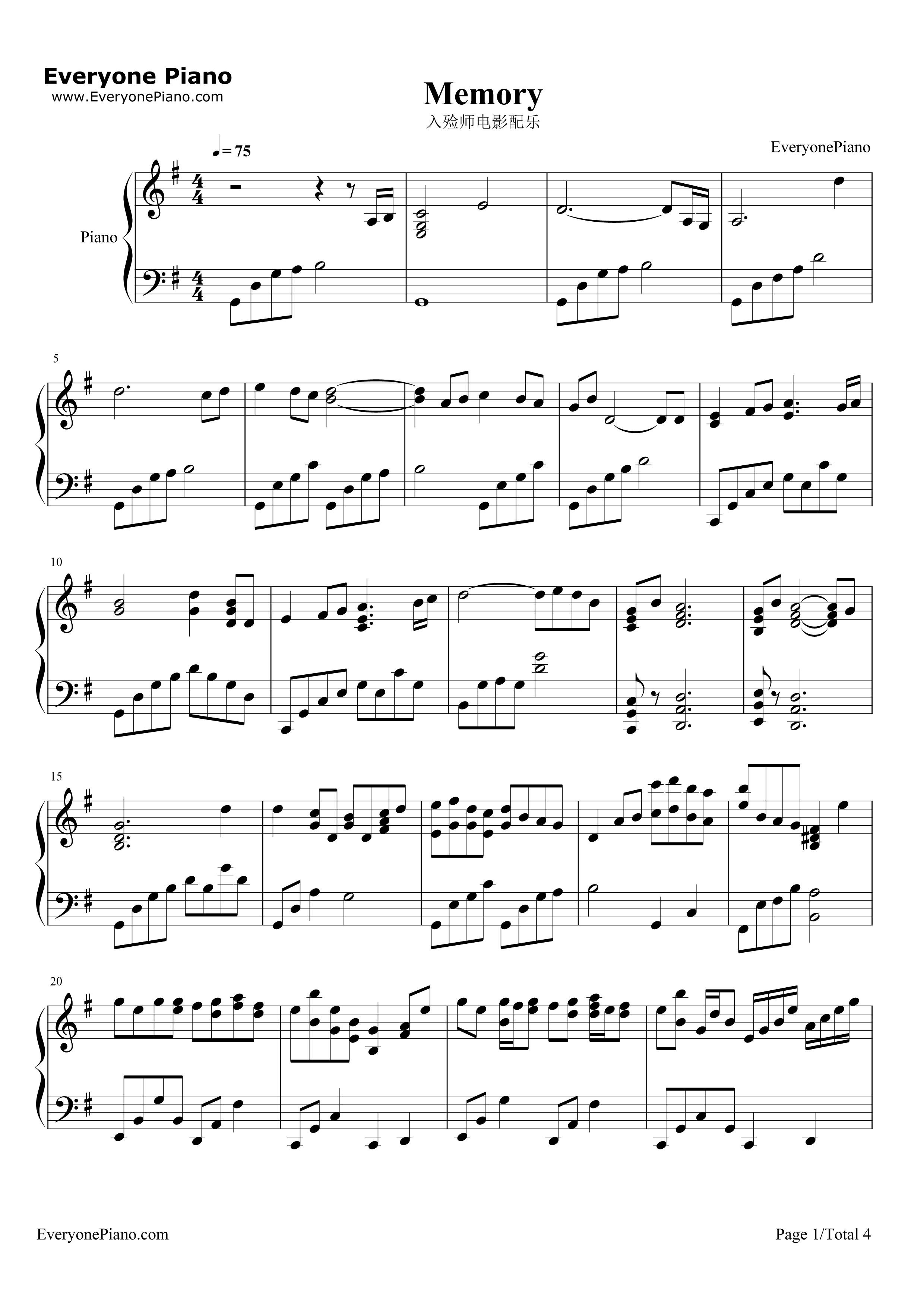 钢琴曲谱 轻音乐 memory-记忆 memory-记忆五线谱预览1  }  仅供学习