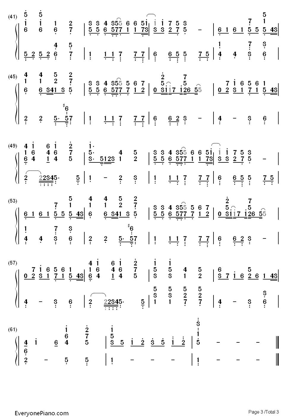 钢琴曲谱 流行 记得 记得双手简谱预览3  }  仅供学习交流使用!图片
