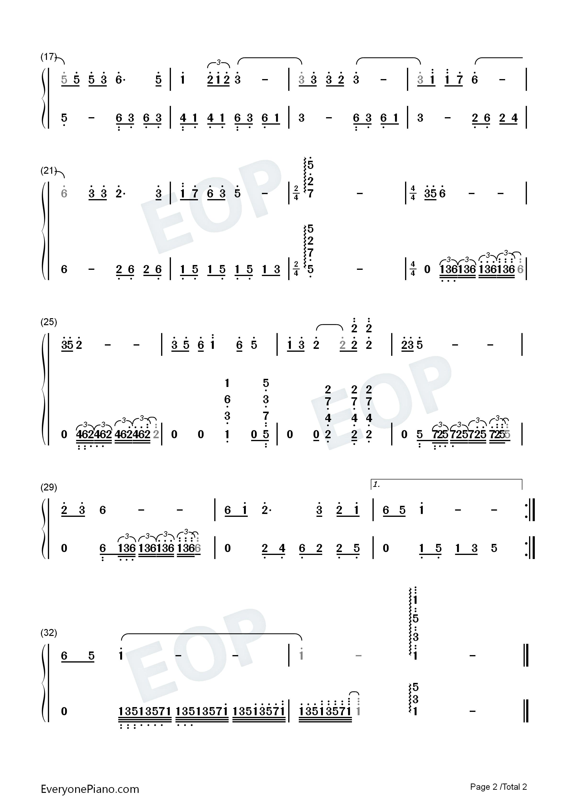 钢琴曲谱 流行 上海滩 上海滩双手简谱预览2  }  仅供学习交流使用!