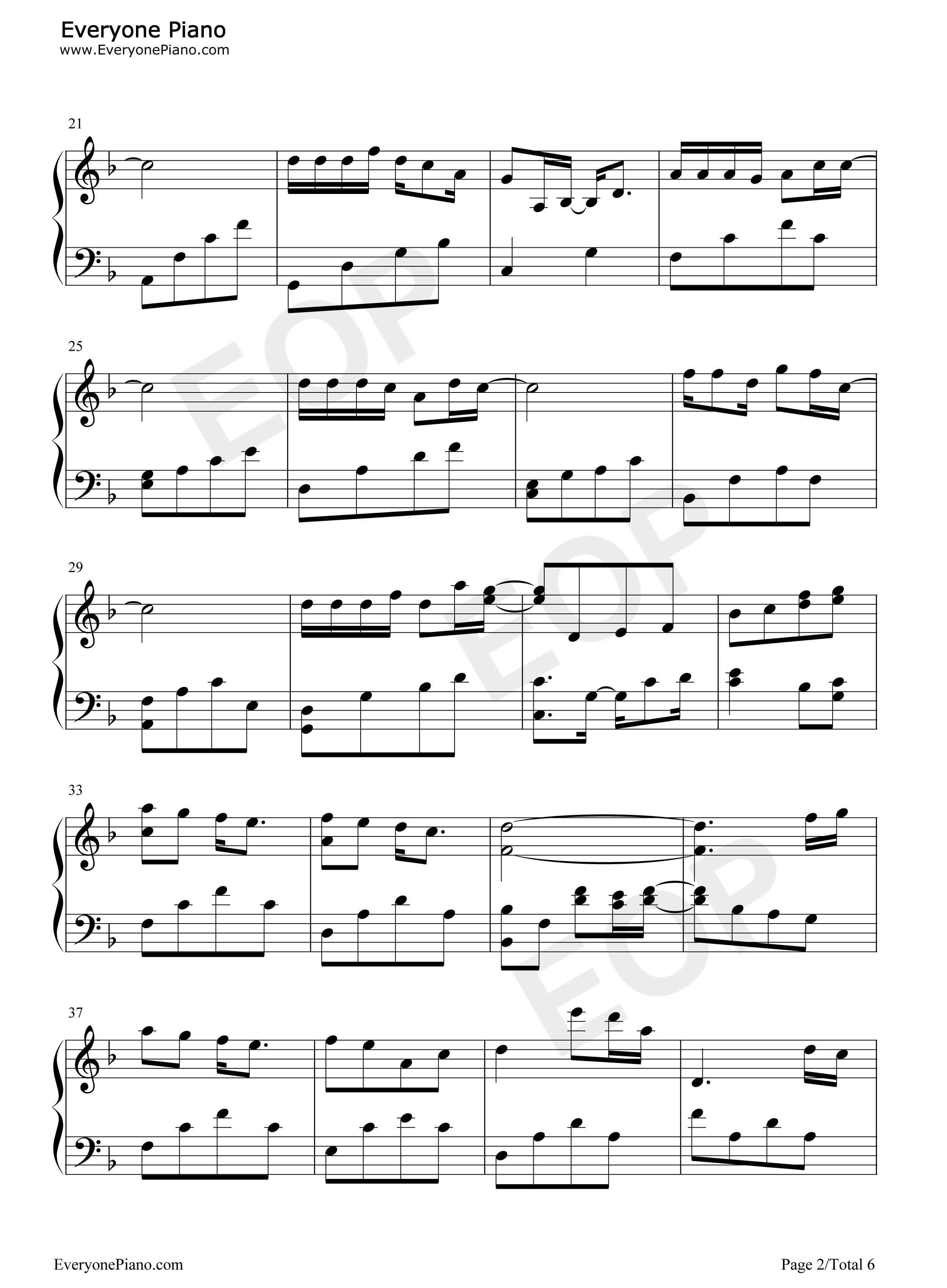 钢琴曲谱 流行 我只在乎你 我只在乎你五线谱预览2  }  仅供学习交流