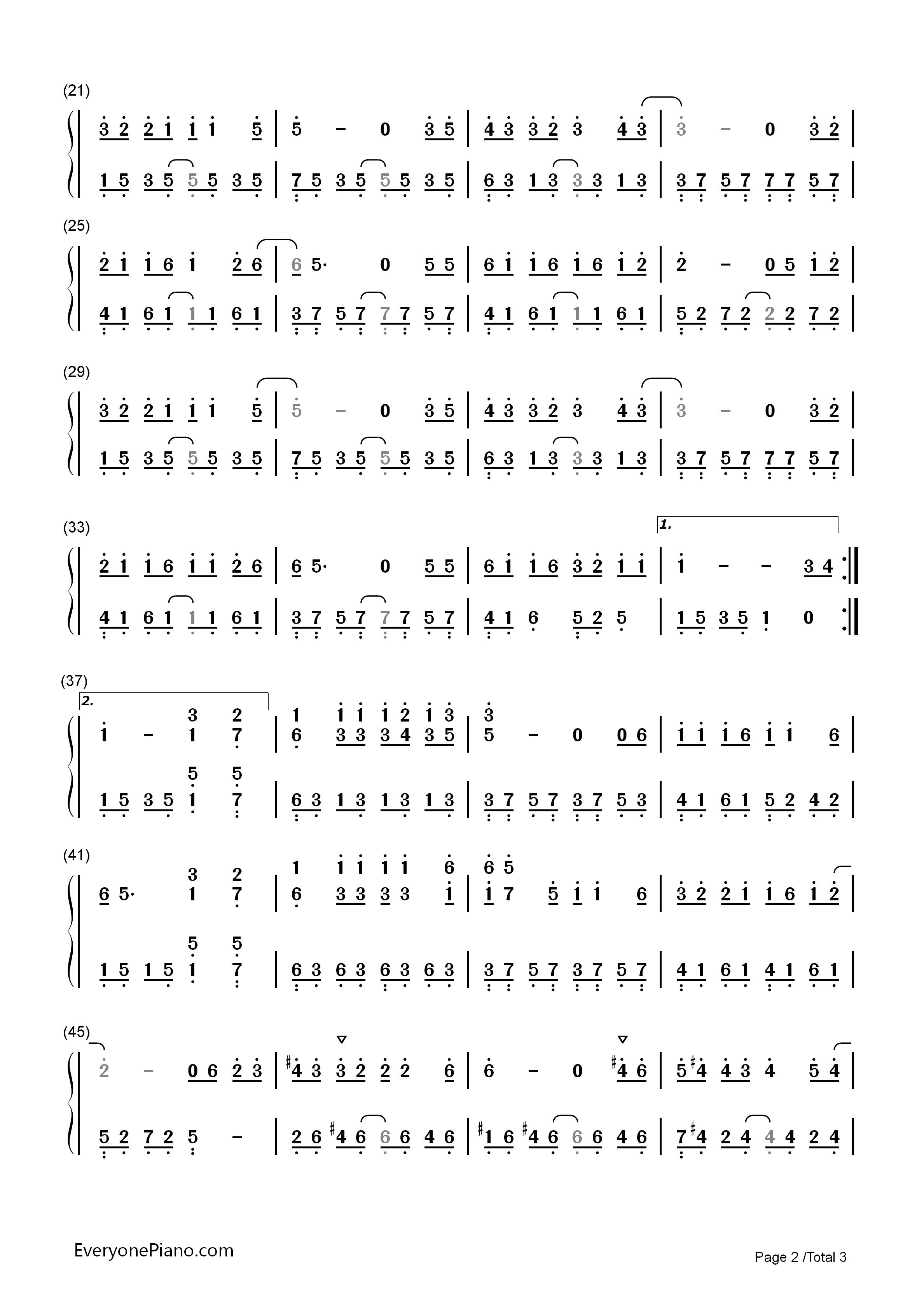 情非得已双手简谱预览2-钢琴谱档(五线谱,双手简谱,数