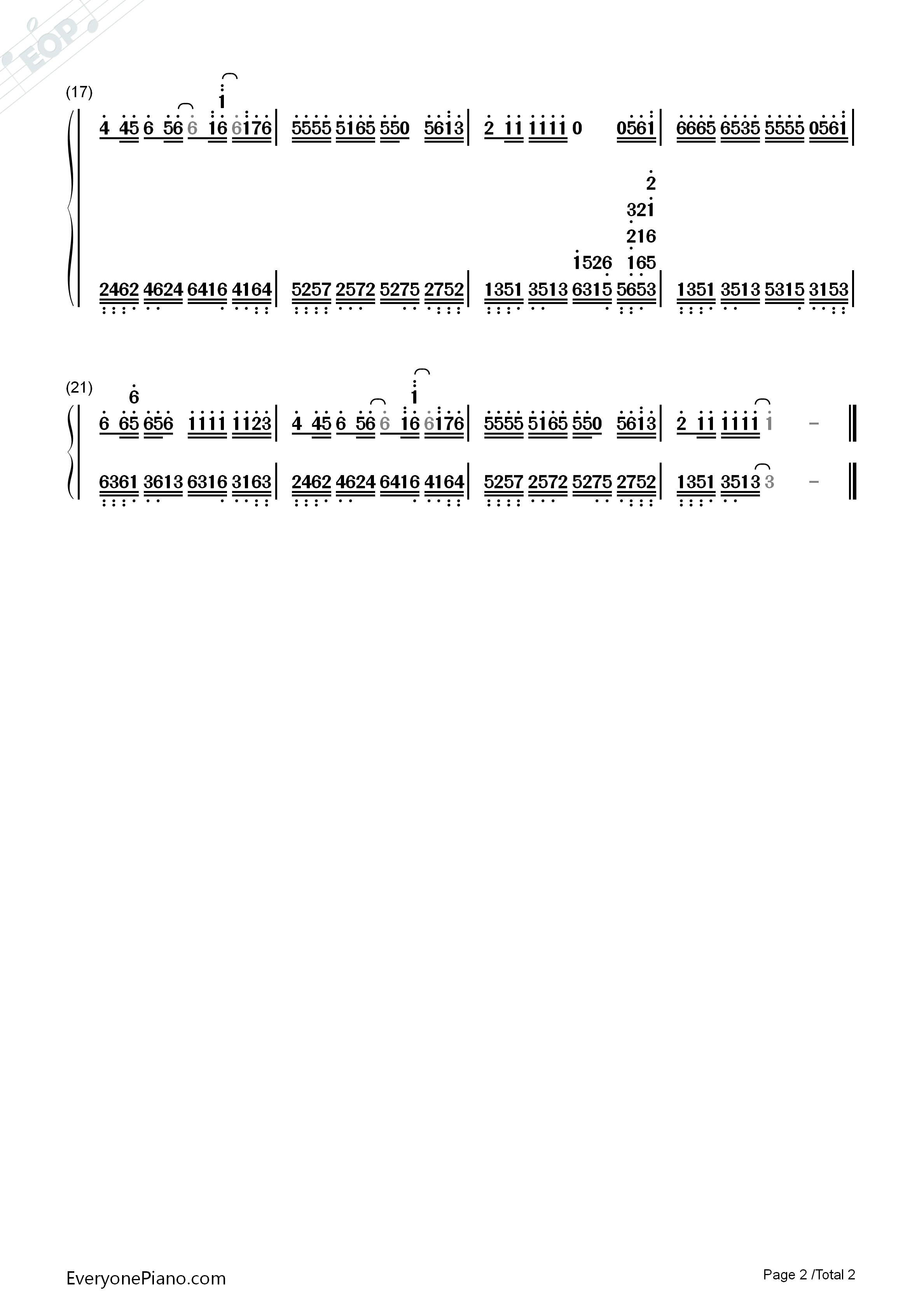 钢琴曲谱 流行 最浪漫的事 最浪漫的事双手简谱预览2  }  仅供学习