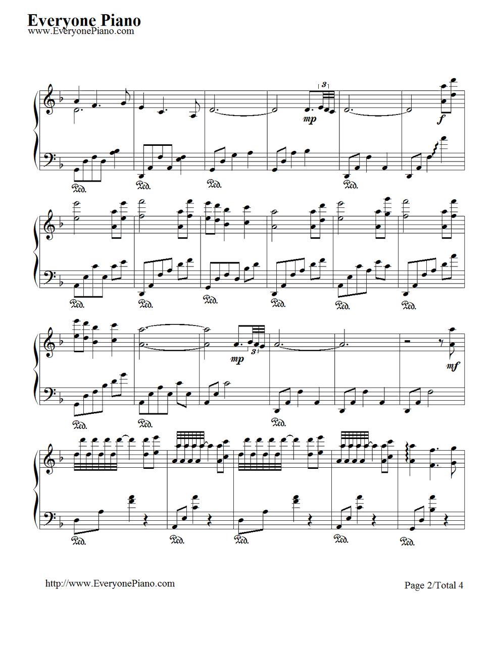 夜曲五线谱预览2-钢琴谱(五线谱,双手简谱)免费下载