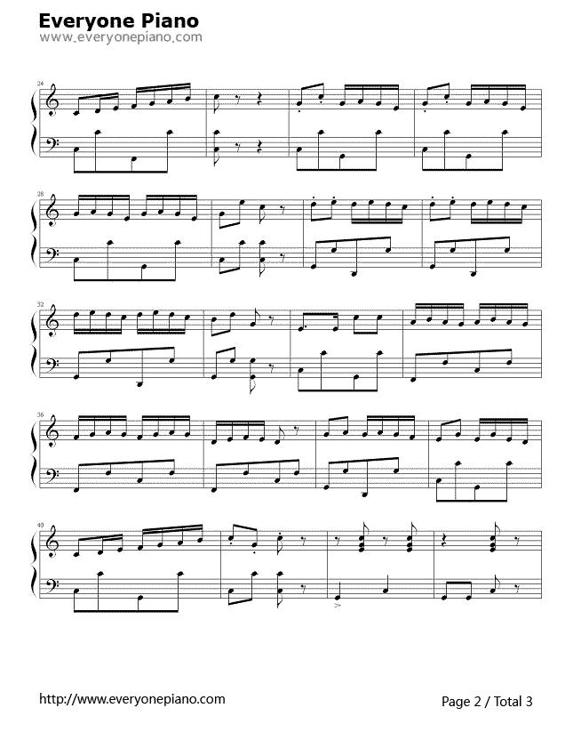 小松树五线谱预览2-钢琴谱(五线谱,双手简谱)免费下载