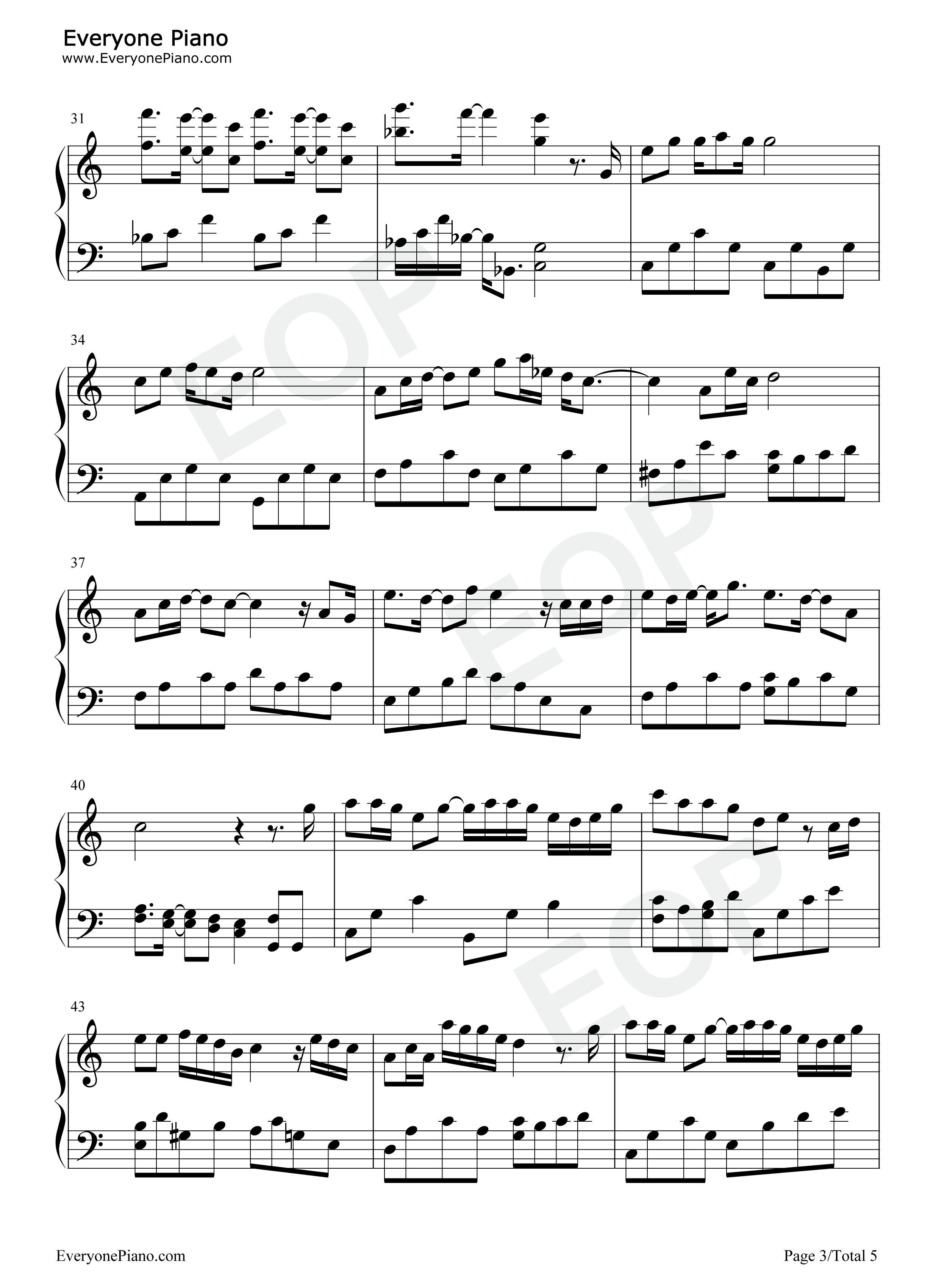 下一个天亮五线谱预览3-钢琴谱档(五线谱,双手简谱,数