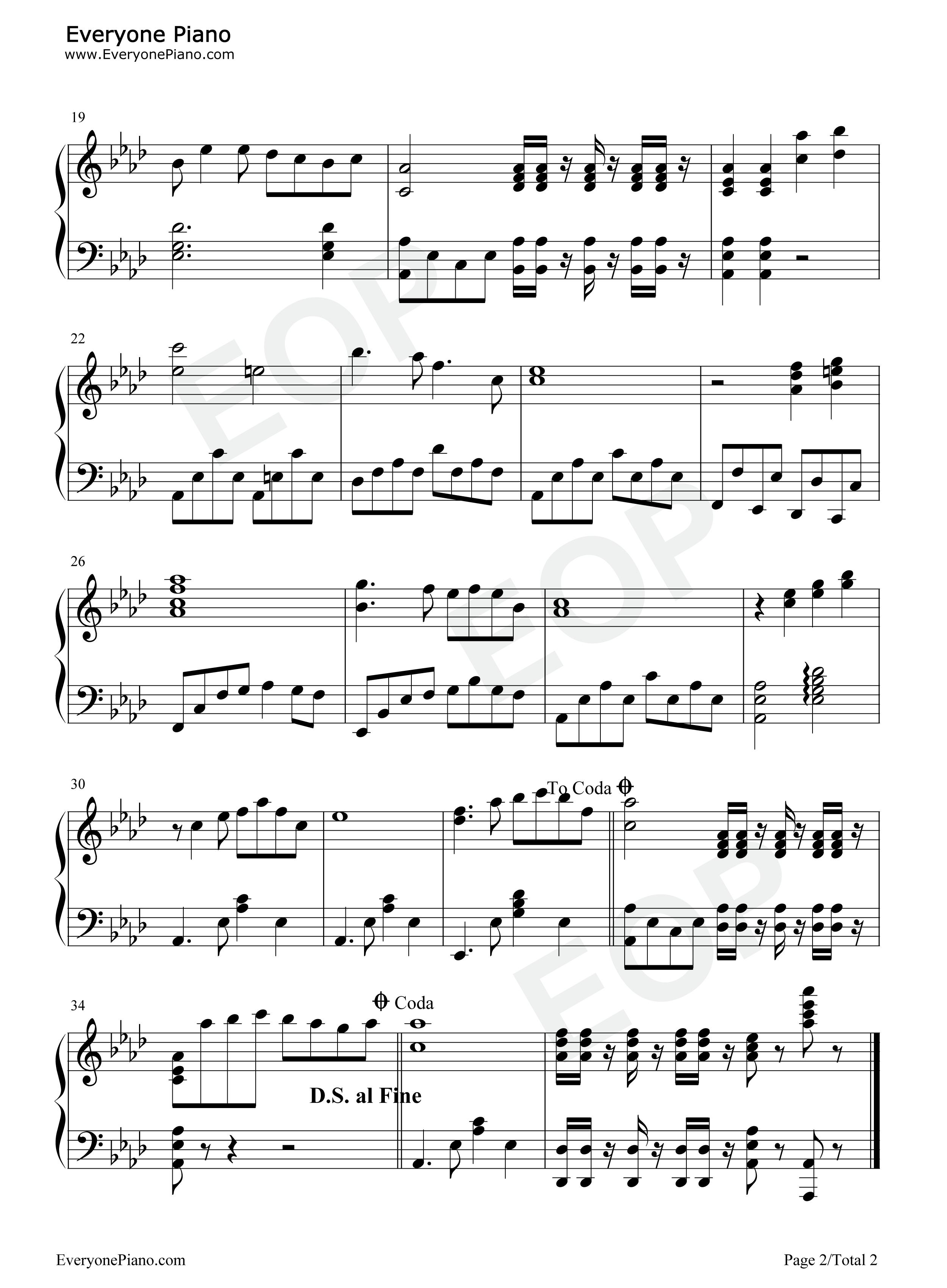 夜来香五线谱预览2-钢琴谱档(五线谱,双手简谱,数位谱