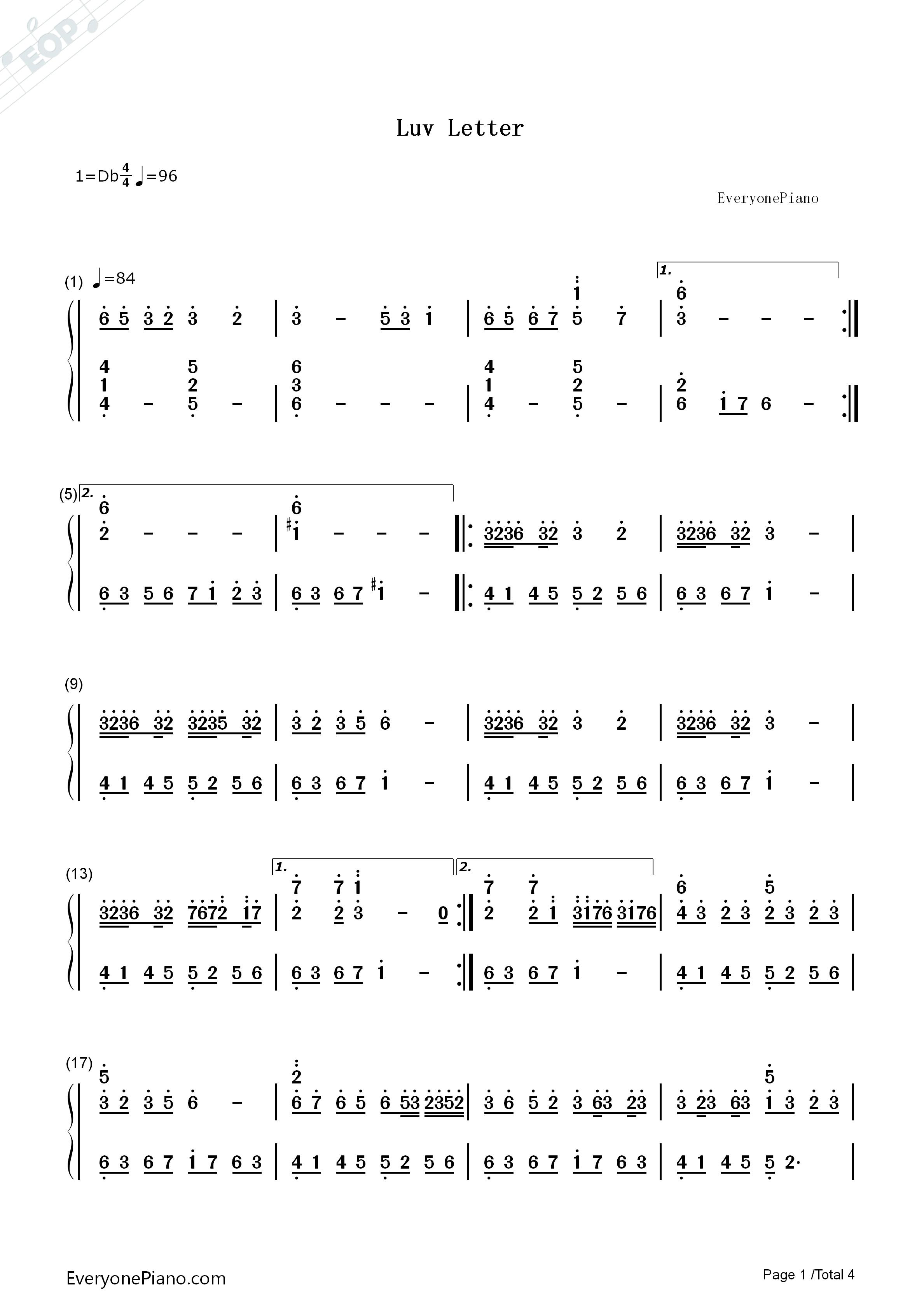 情书-luv letter双手简谱预览1