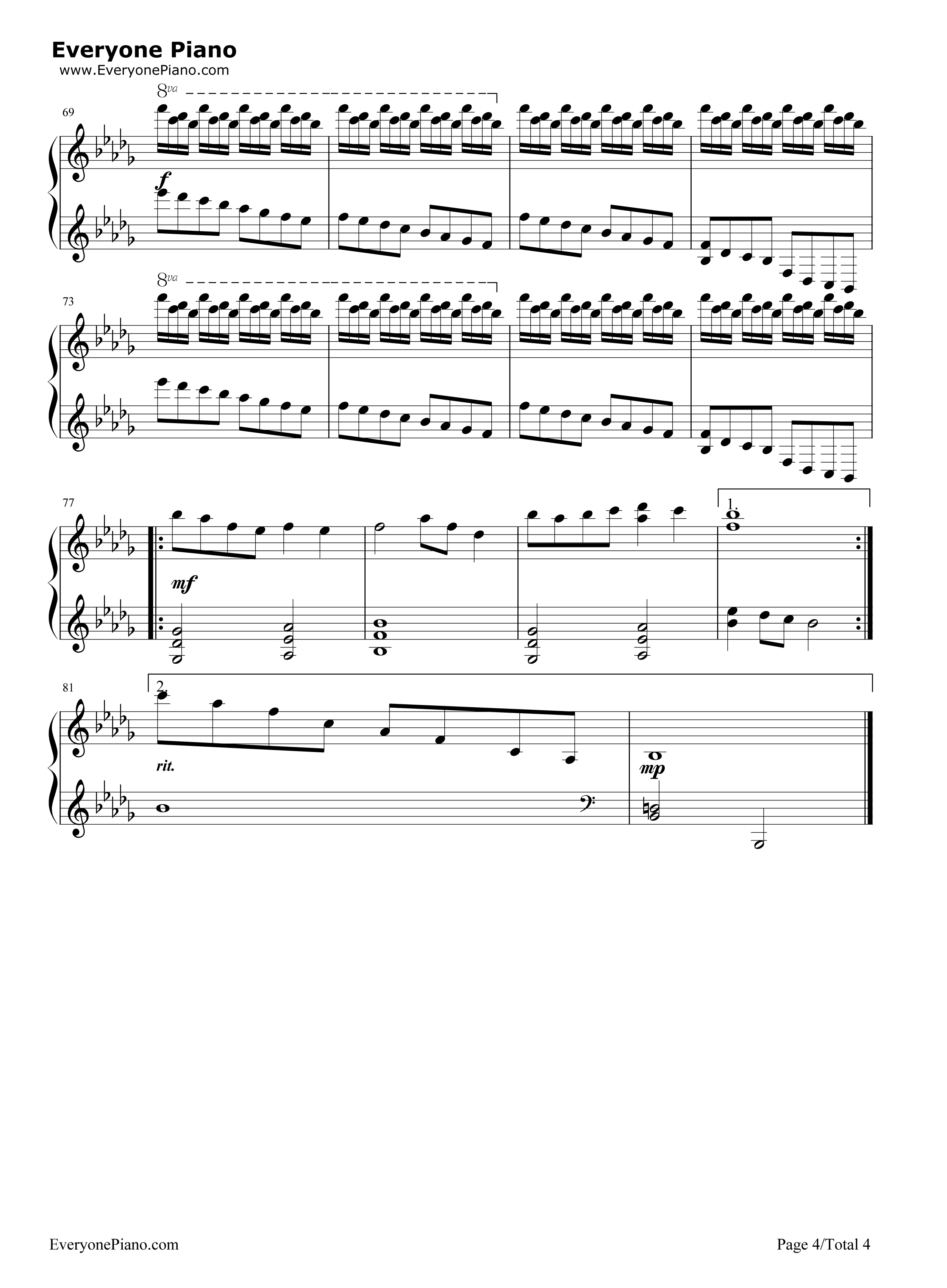 情书-luv letter五线谱预览4-钢琴谱