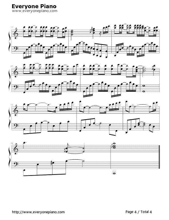 天亮了五线谱预览4-钢琴谱档(五线谱,双手简谱,数位谱