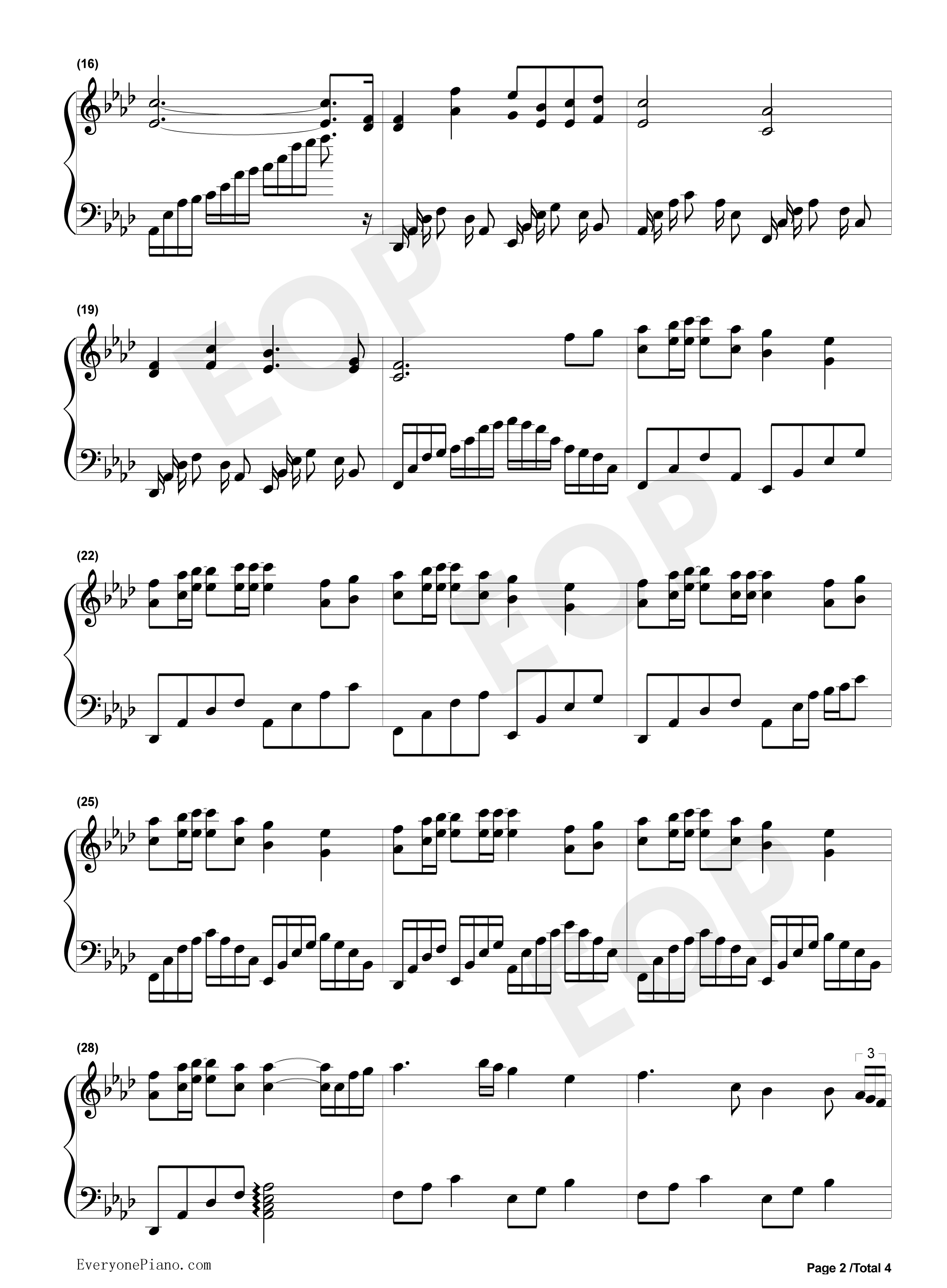 钢琴曲谱 流行 美丽的神话 美丽的神话五线谱预览2  }  仅供学习交流