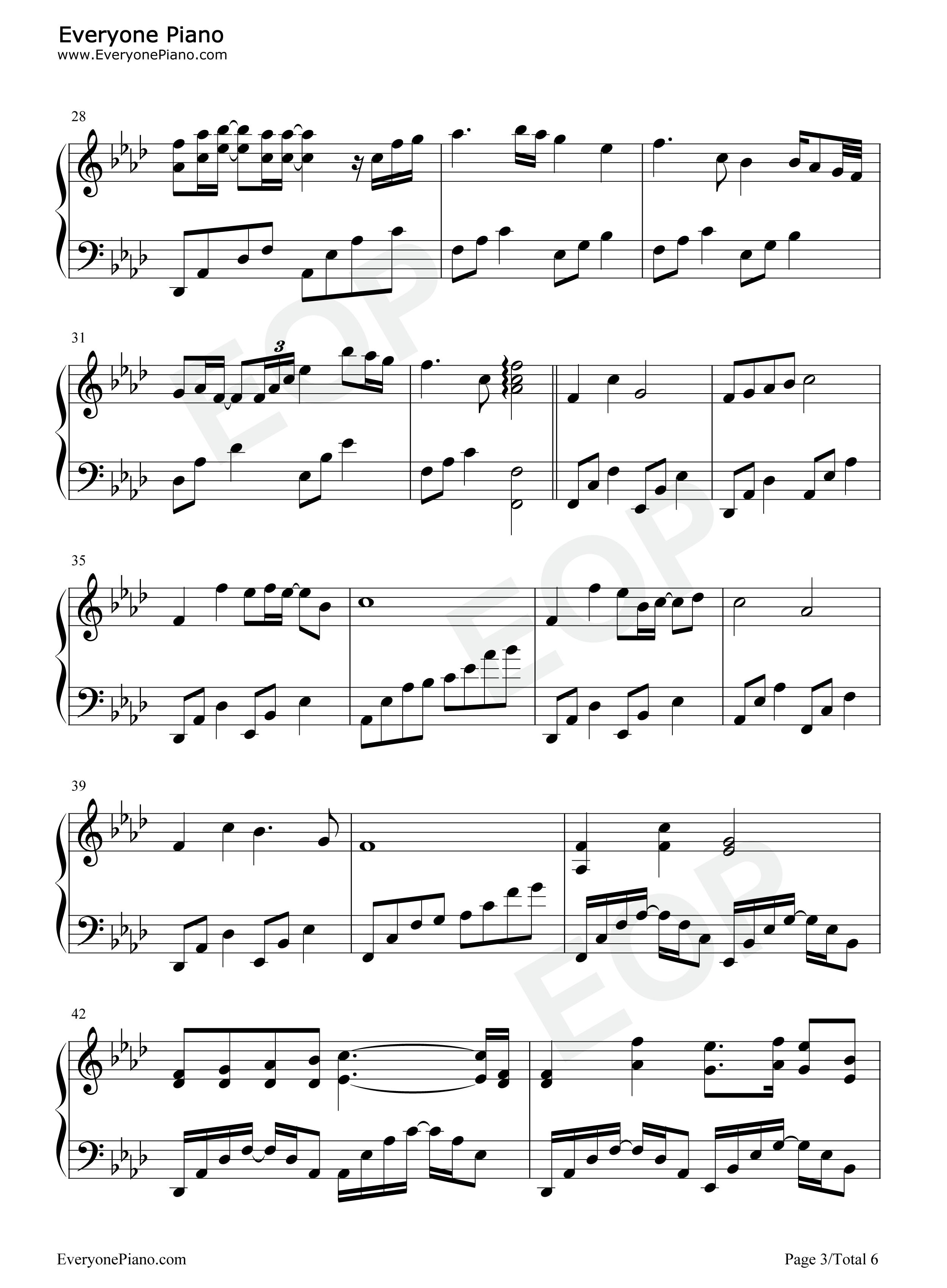 钢琴曲谱 流行 美丽的神话 美丽的神话五线谱预览3   仅供学习交流