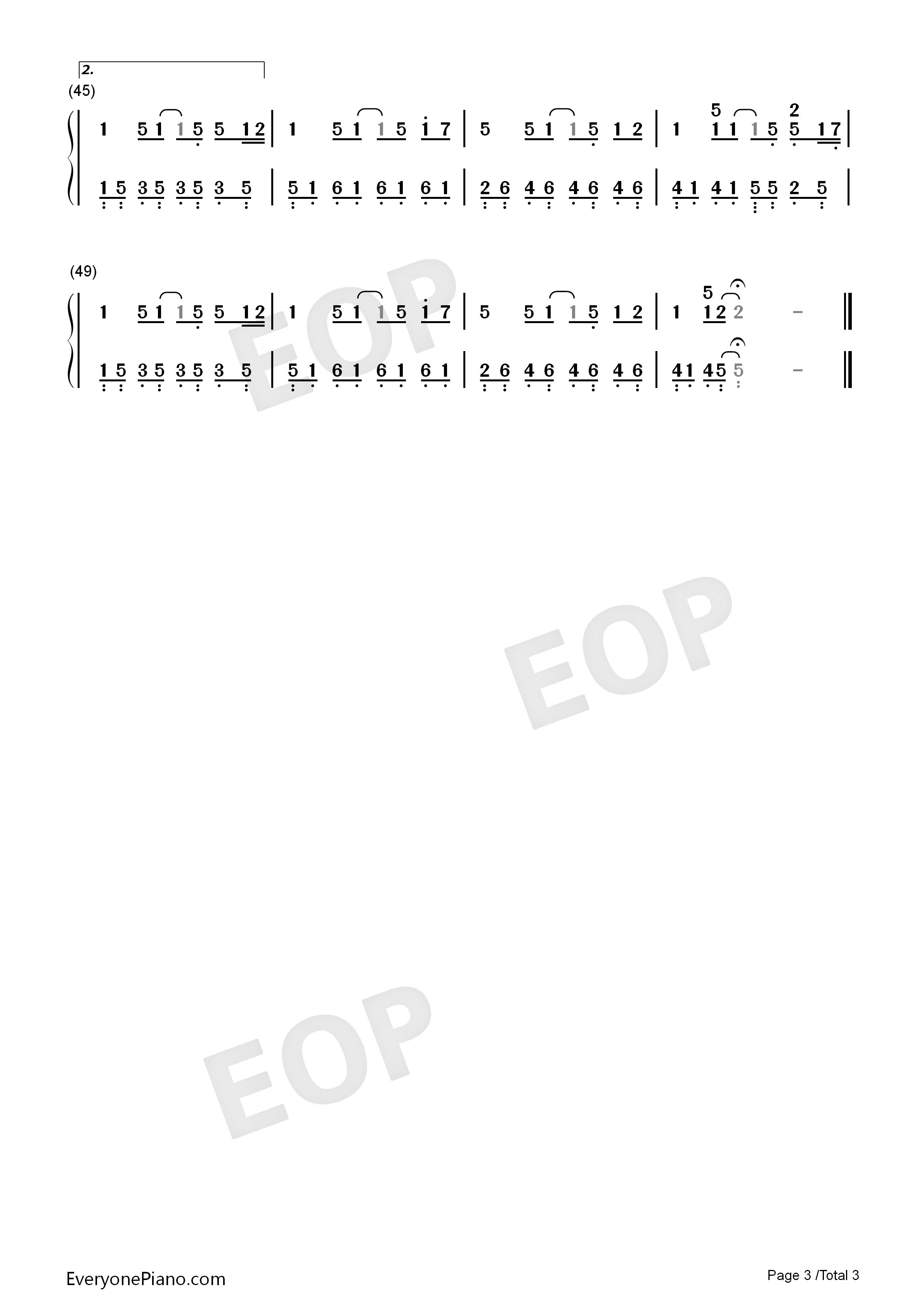 晴天双手简谱预览3-钢琴谱(五线谱,双手简谱)免费下载